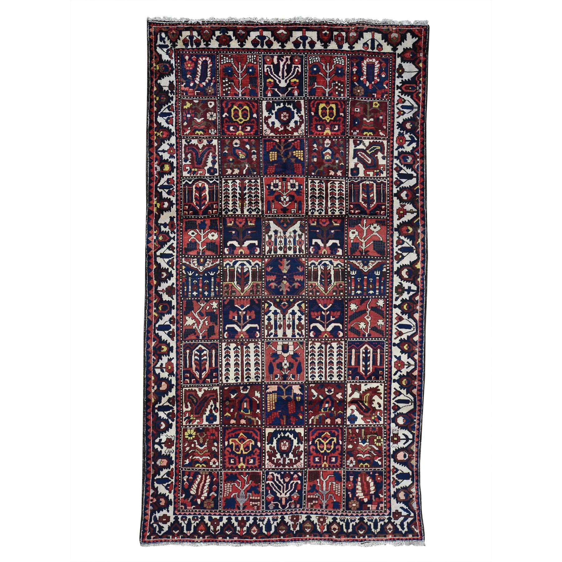 "5'2""X9'6"" Garden Design Bakhtiari Semi Antique Persian Wide Runner Oriental Rug moac9767"