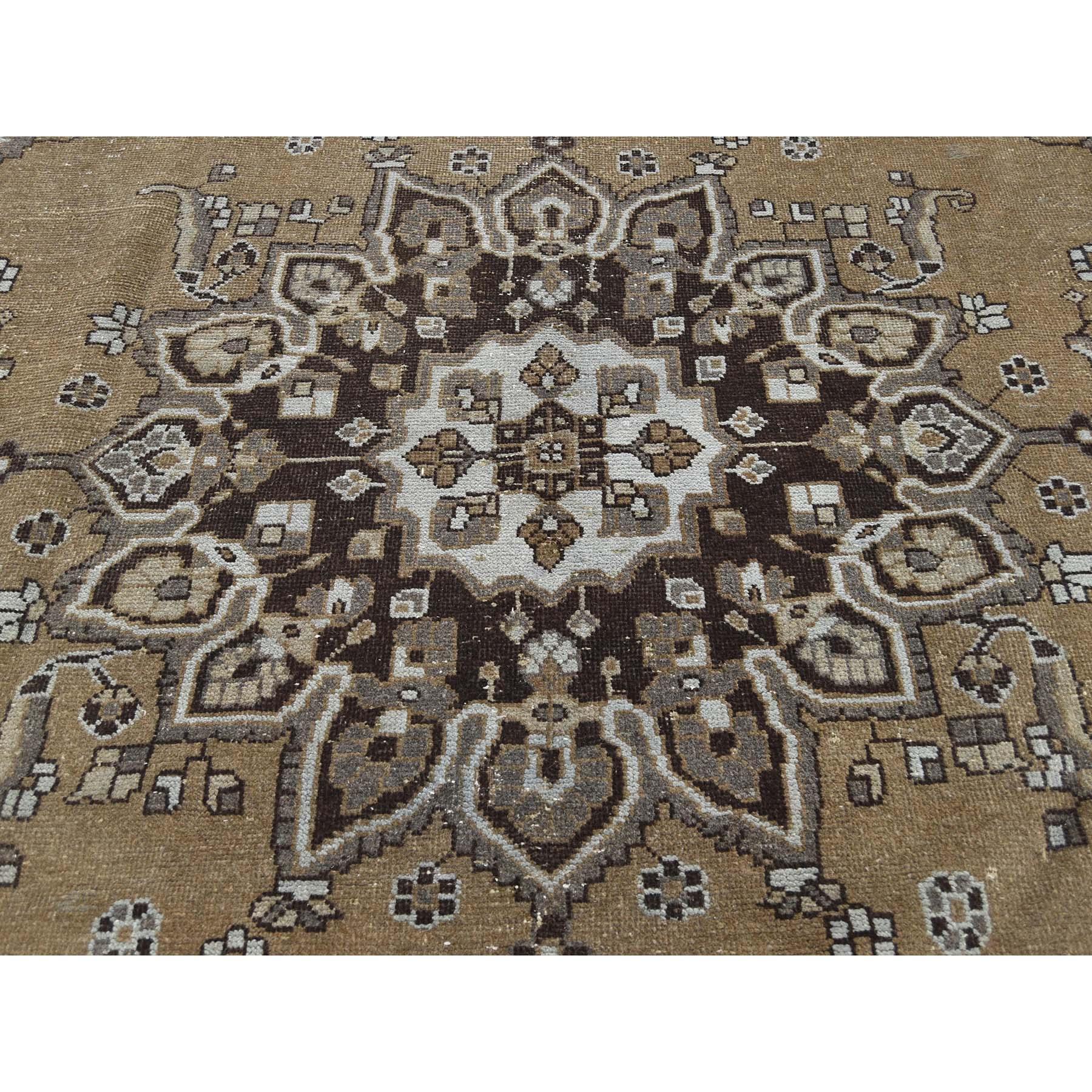 "9'6""x12'6"" Undyed Natural Wool Persian Bakhtiari Worn Oriental Rug"