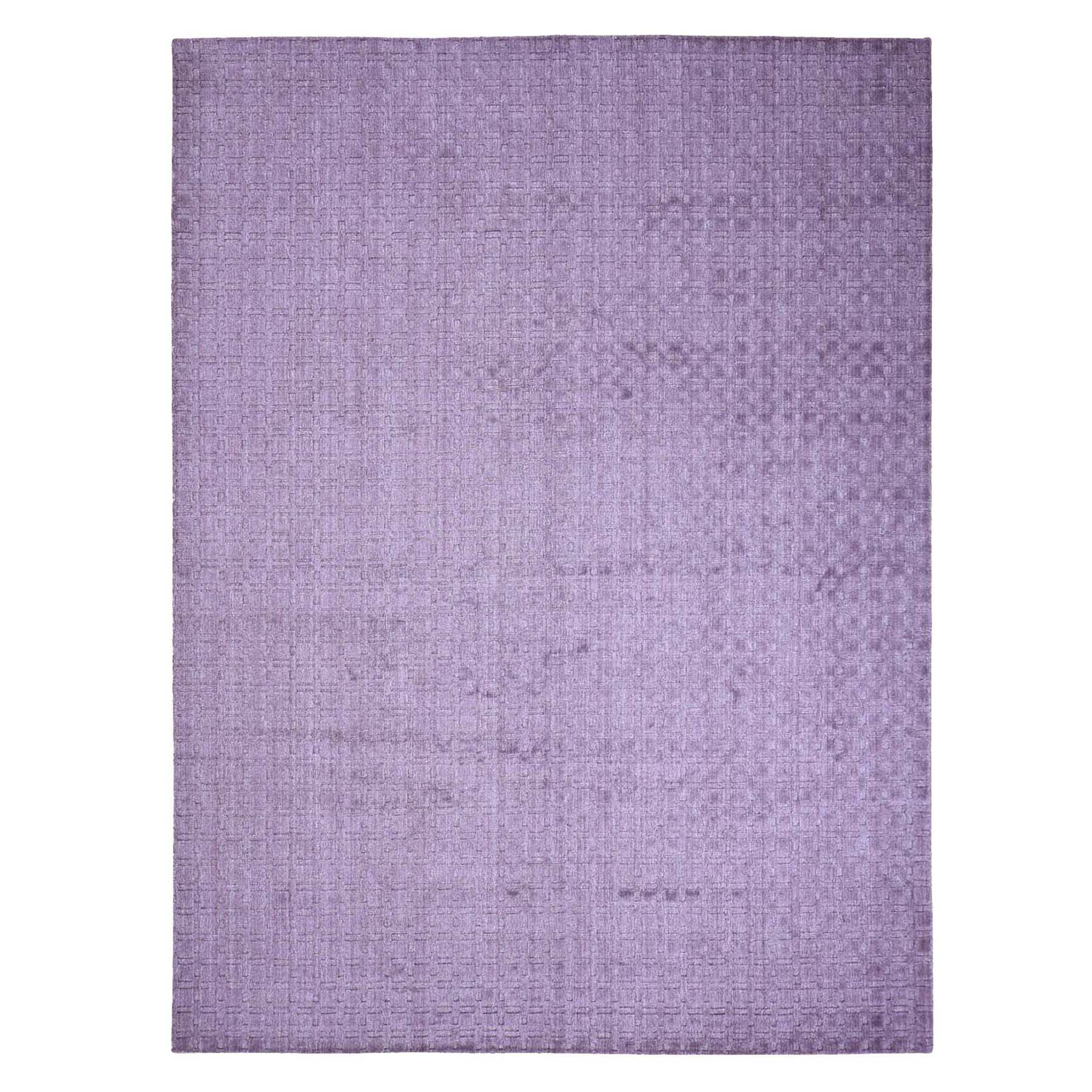 9'1'X12' Pure Wool Hand-Loomed Tone On Tone Ultra Violet Oriental Rug moac977e