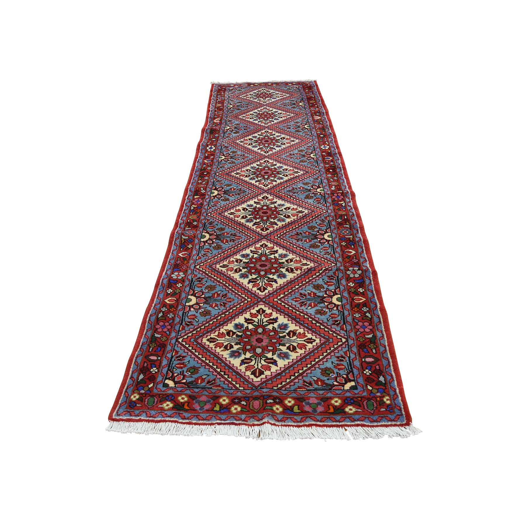"2'6""X9'7"" Persian Hamadan Full Pile Hand-Knotted Runner Oriental Rug moac979a"