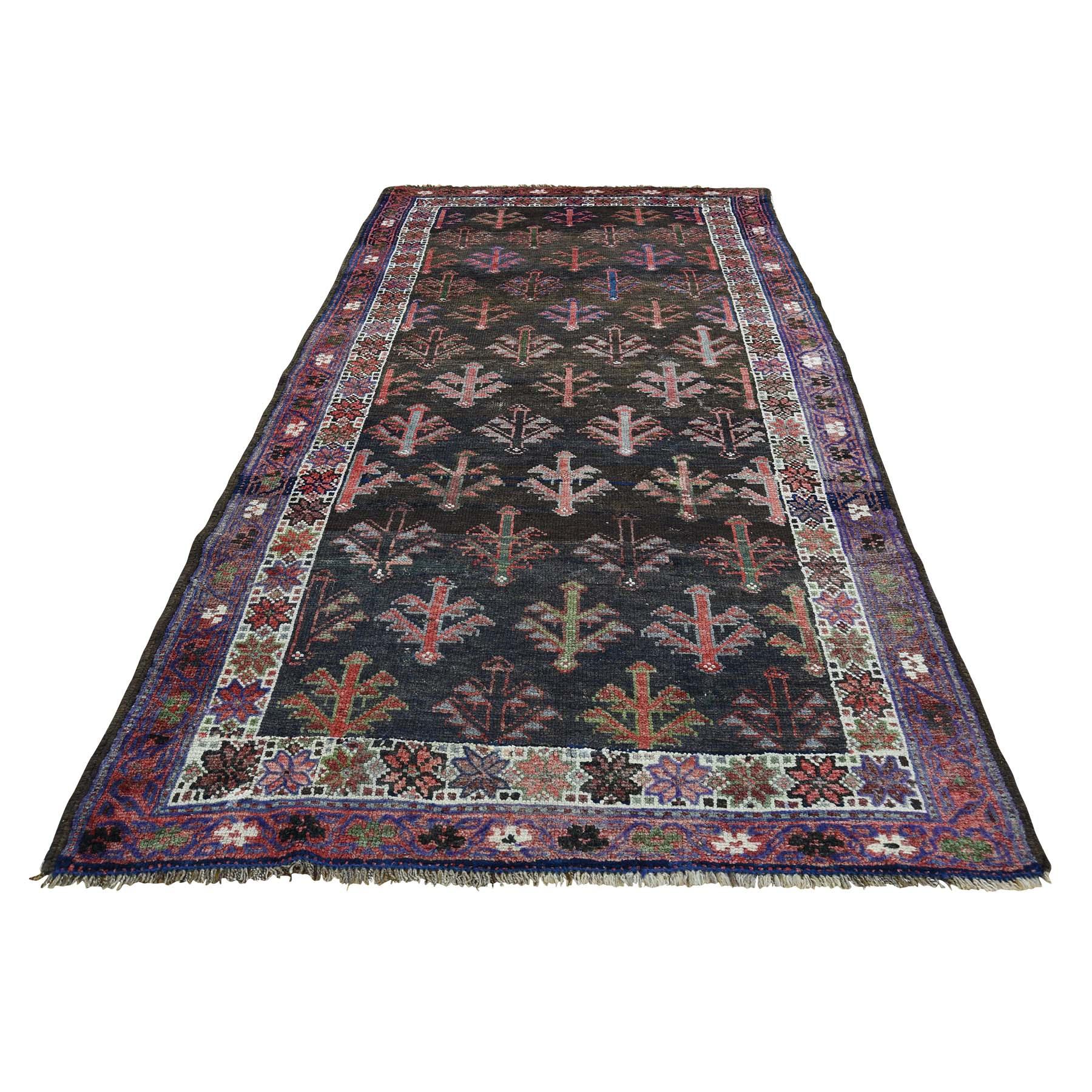 "3'10""X8'5"" Vintage Shiraz Exc Cond Pure Wool Handmade Runner Oriental moac9798"