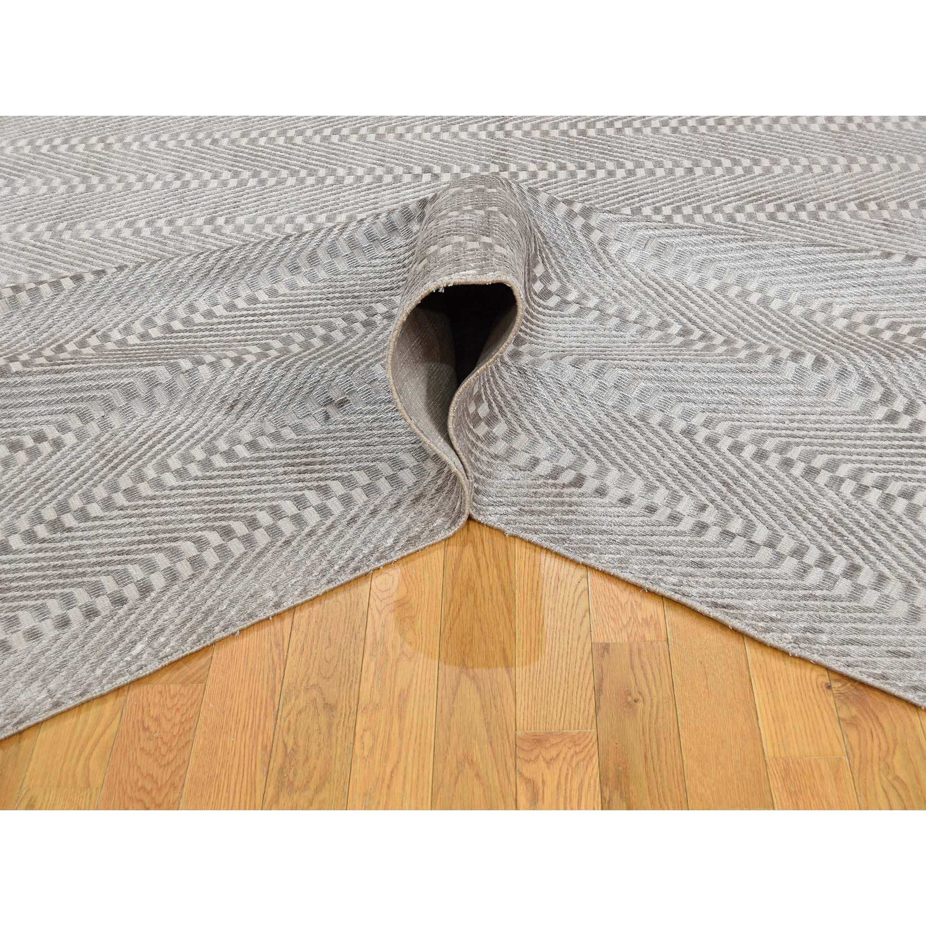 8-9 x11-7  Hand-Loomed Art Silk Grey Modern Tone on Tone Oriental Rug