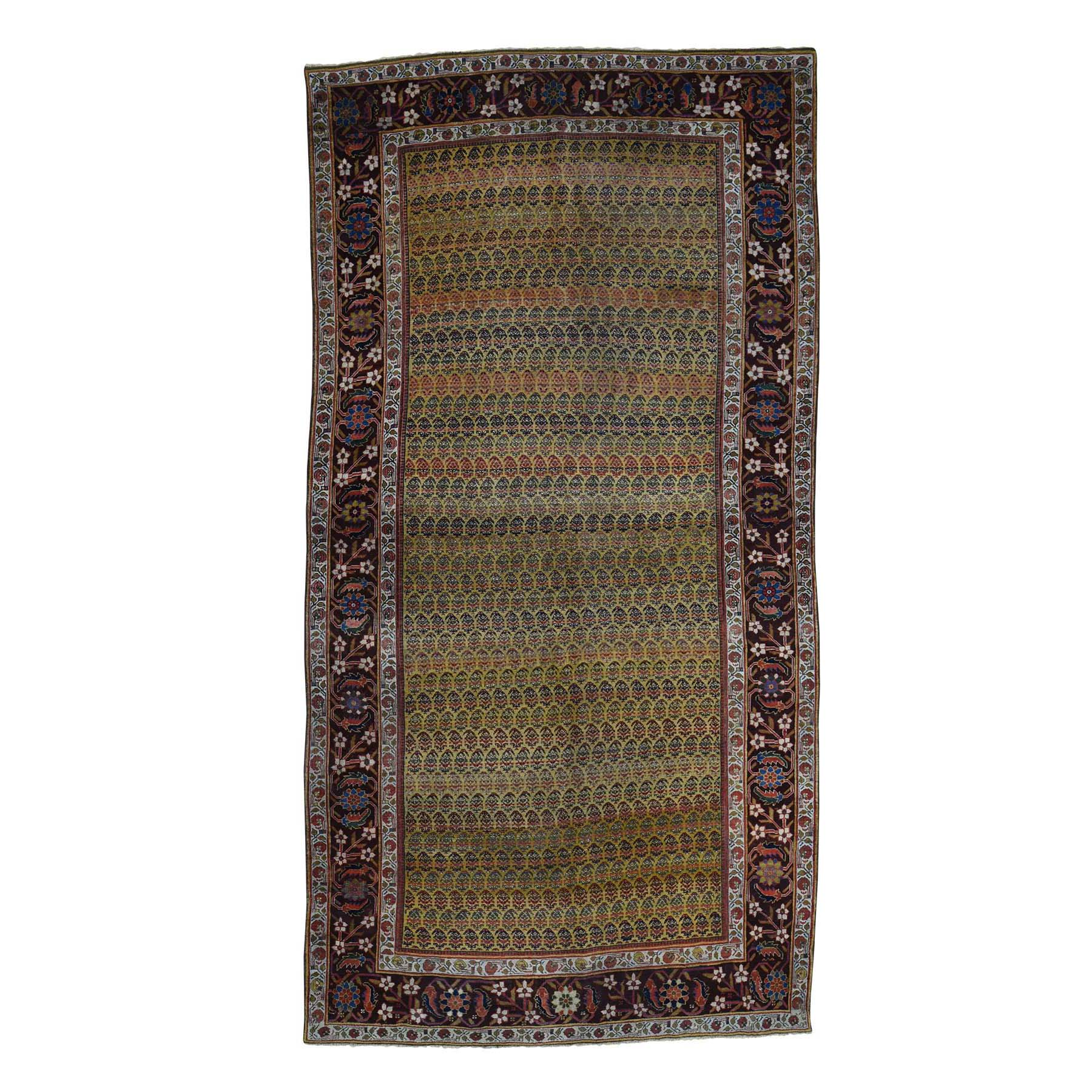 "5'1""x9'10"" Antique Persian Bijar Exc Cond Wide Runner Oriental Rug"