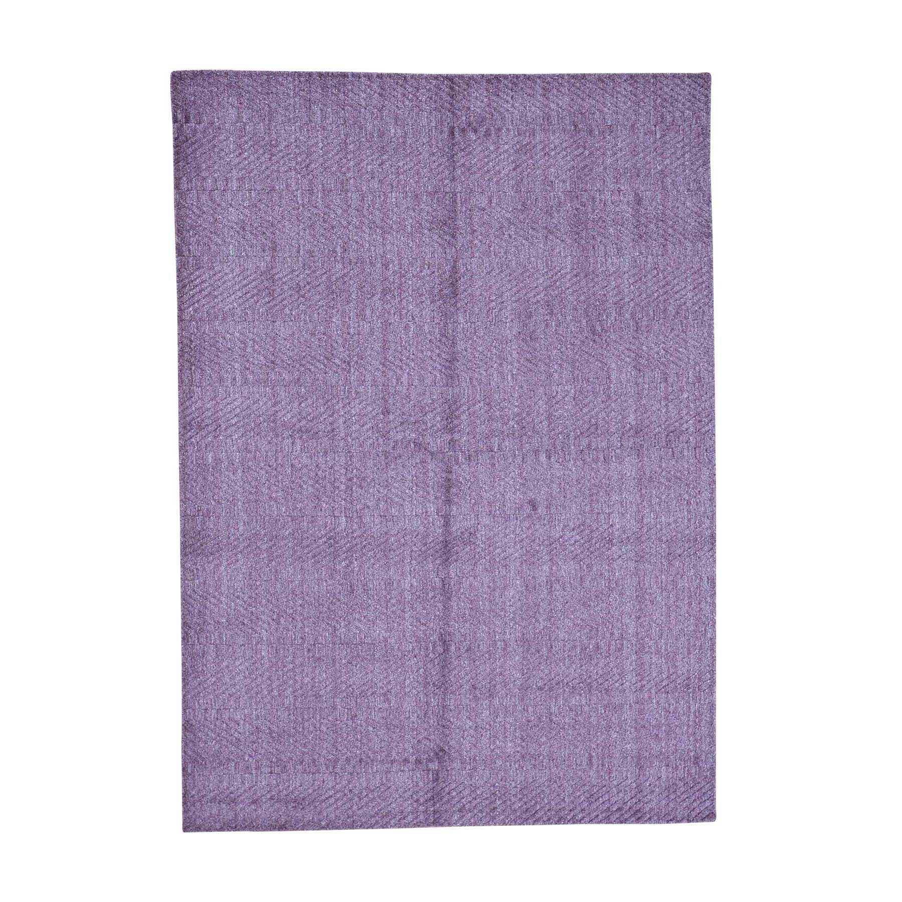 "5'1""X7'1"" Hand-Loomed Purple Tone On Tone Pure Wool Oriental Rug moac98de"