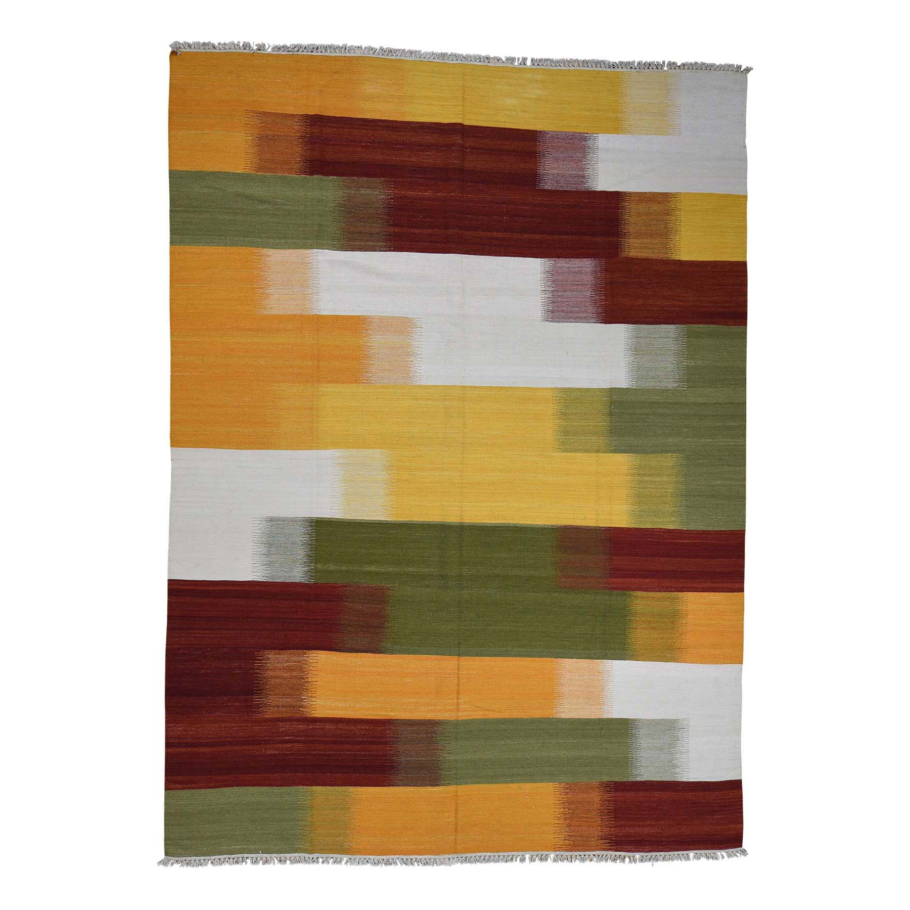 """9'X12'3"""" Hand Woven Flat Weave Dazzle Design Durie Kilim Reversible Rug moac98ed"""