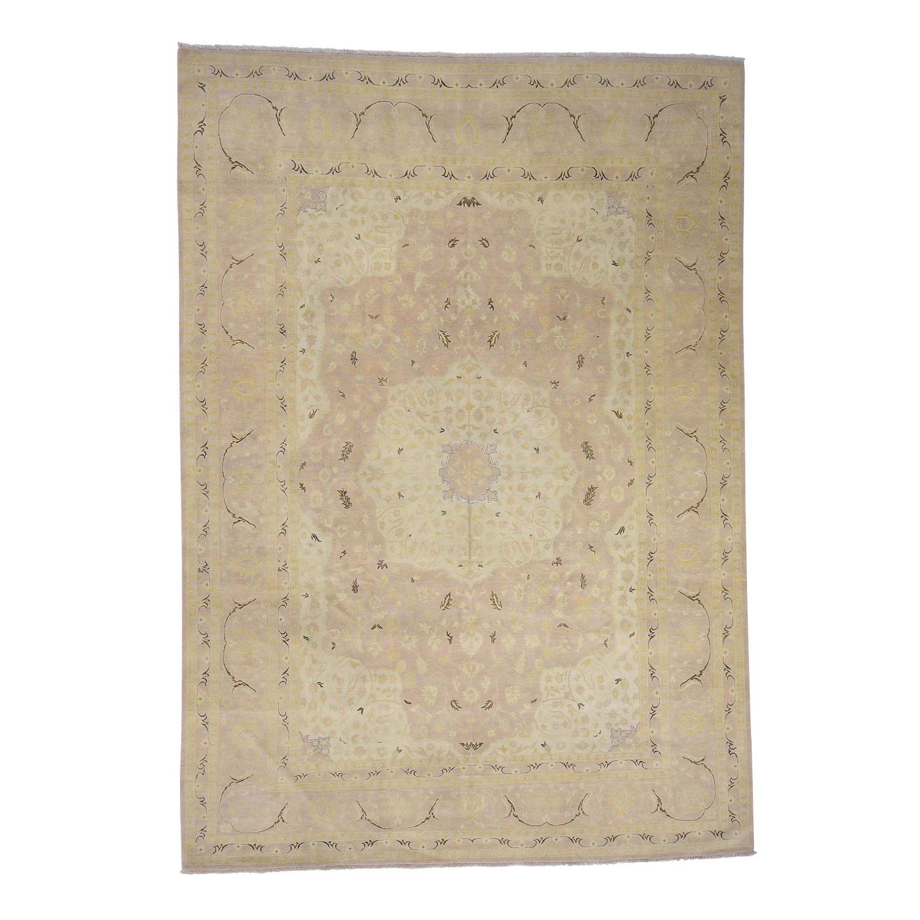 "9'X12'9"" Dense Weave Washed Tabriz 100 Percent Wool Hand-Knotted Oriental Rug moac988b"