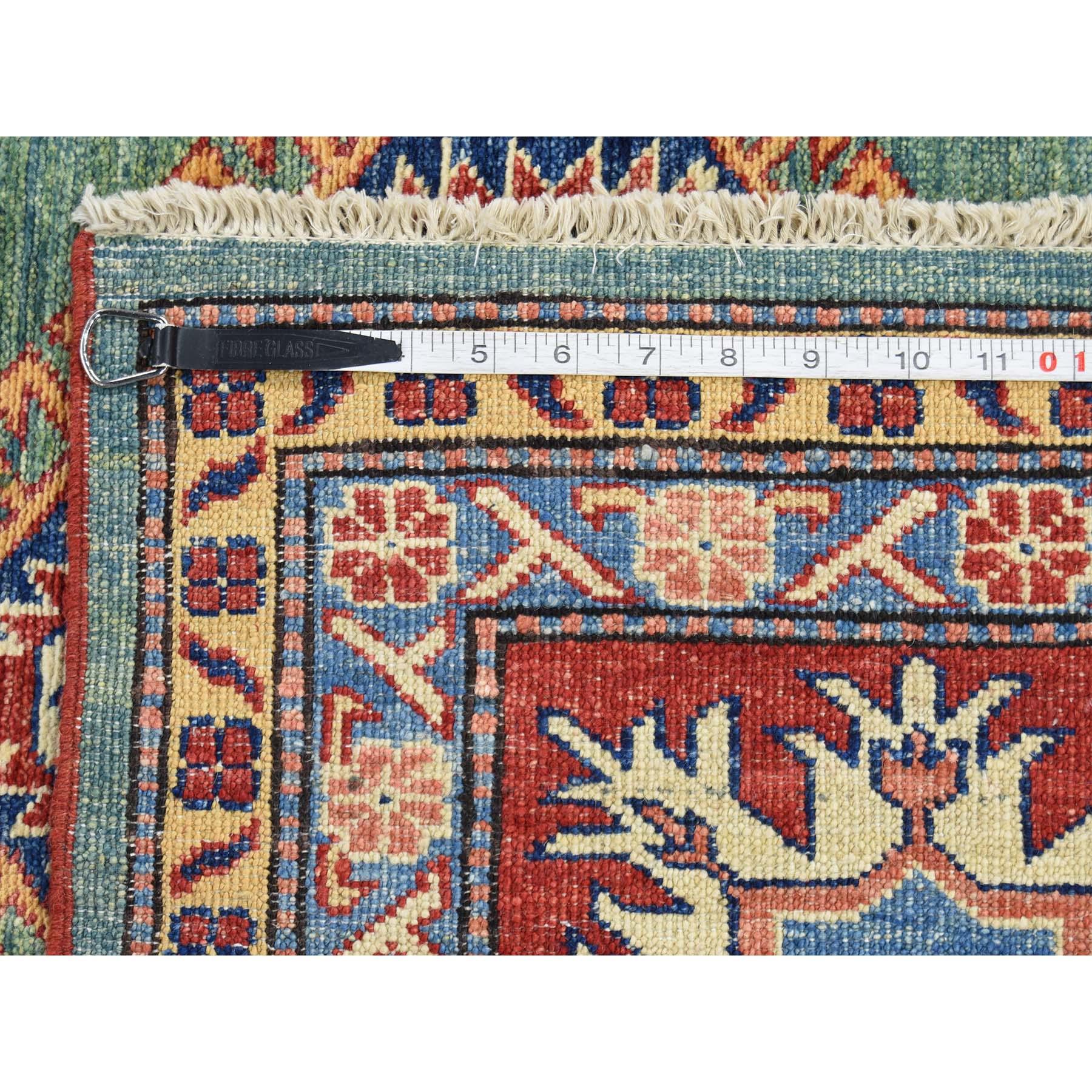 9-2 x12-9  Super Kazak Hand-Knotted 100 Percent Wool Green Oriental Rug