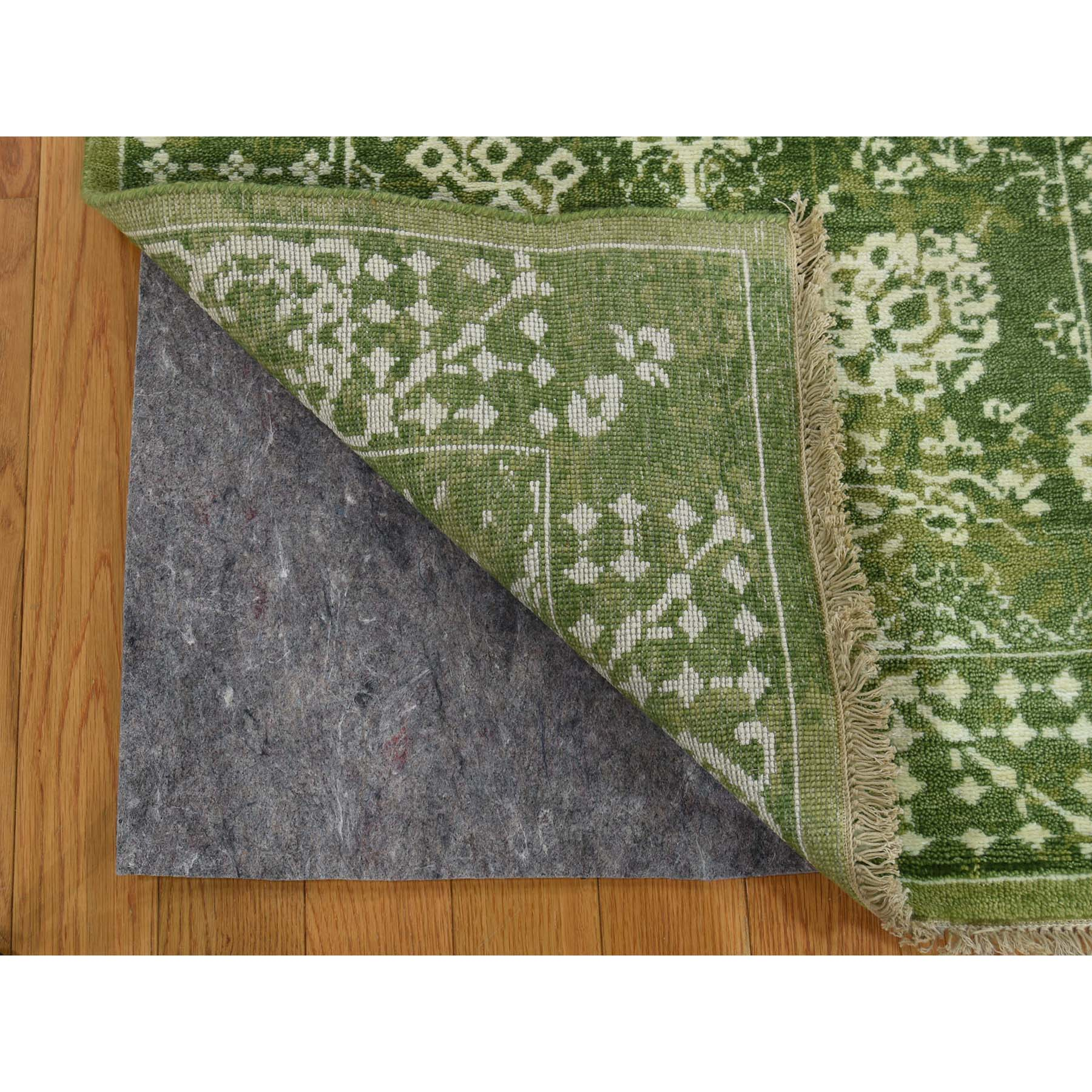 "2'7""x6'1"" Hand-Knotted Wool and Silk Tone on Tone Tabriz Runner Oriental Rug"