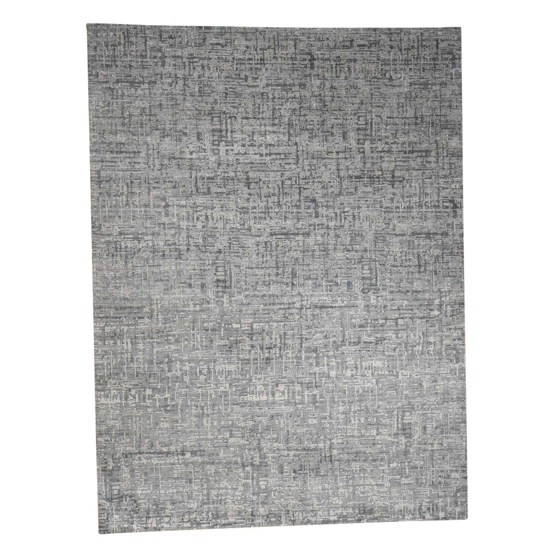 """9'2""""x12'3"""" THE MATRIX Pure Silk with Textured Wool Tone on Tone Hand-Knotted Rug"""