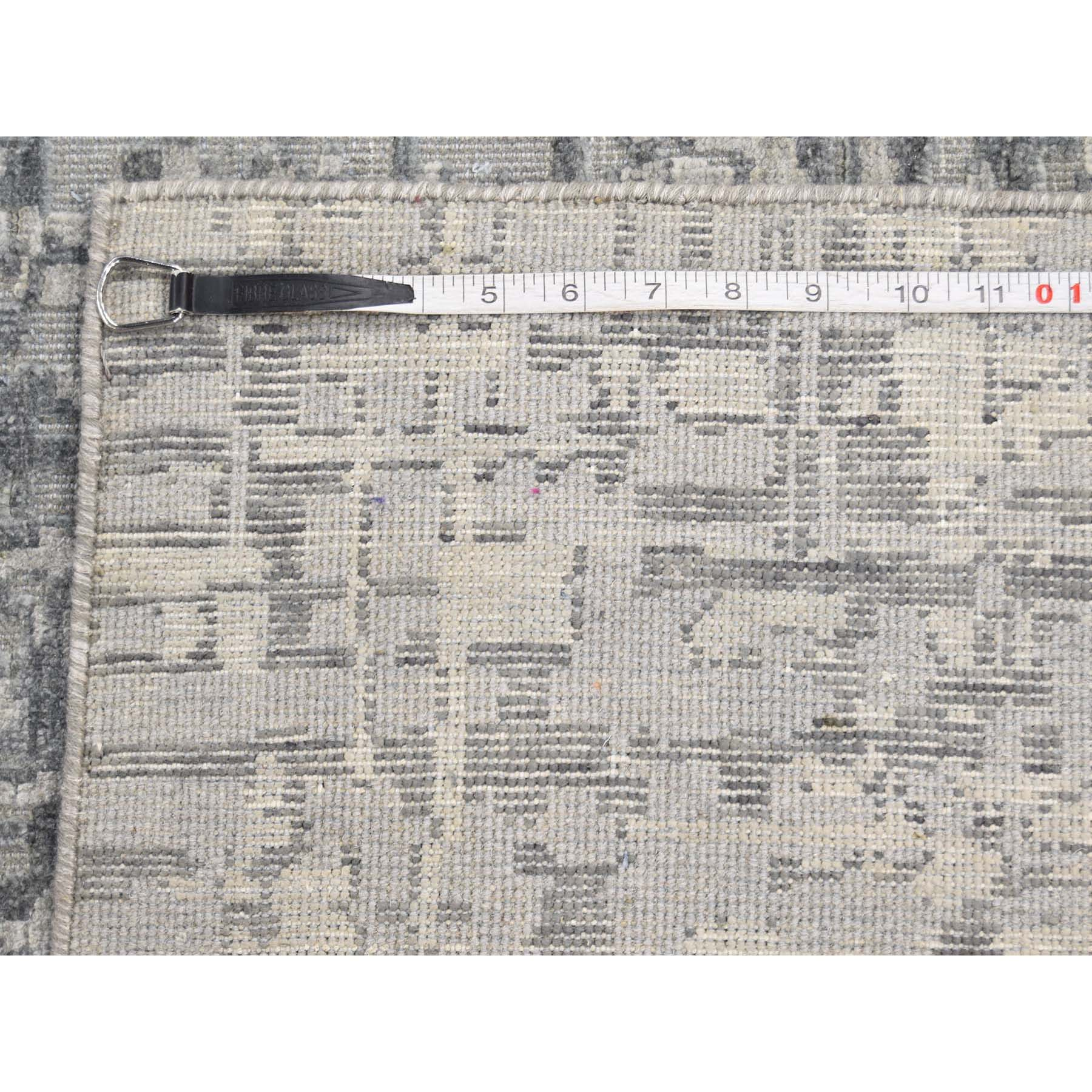 9-2 x12-3  THE MATRIX Pure Silk with Oxidized Wool Tone on Tone Hand-Knotted Rug
