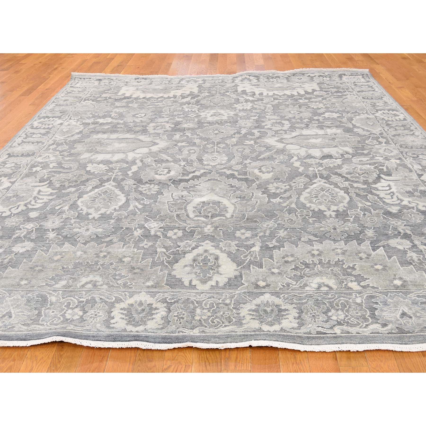 7-10 x10-2  Silk With Oxidized Wool Hand Knotted Oushak Influence Oriental Rug