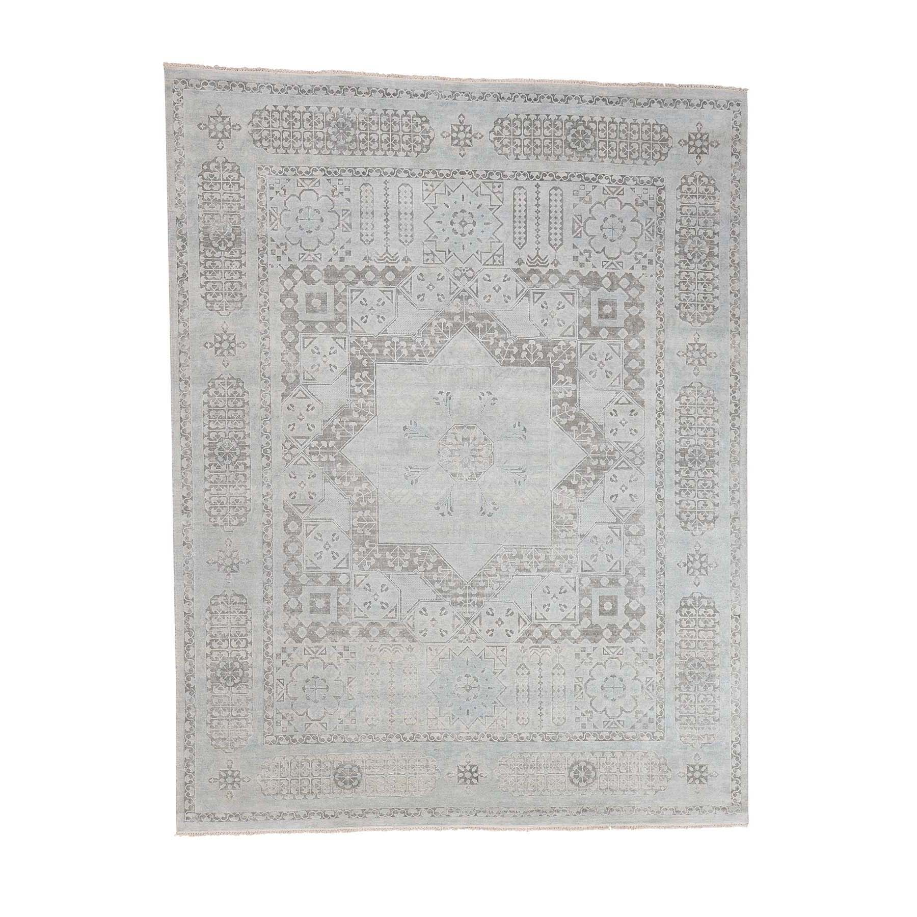 "8'1""X10'5"" Hand-Knotted Mamluk Design Pure Silk With Oxidized Wool Oriental moac99c9"