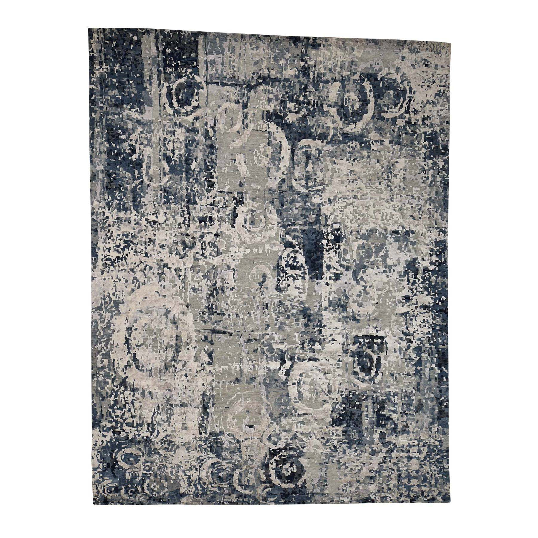 "9'3""x12' Hand-Knotted Abstract Design Wool and Silk Hi-Lo Pile Oriental Rug"