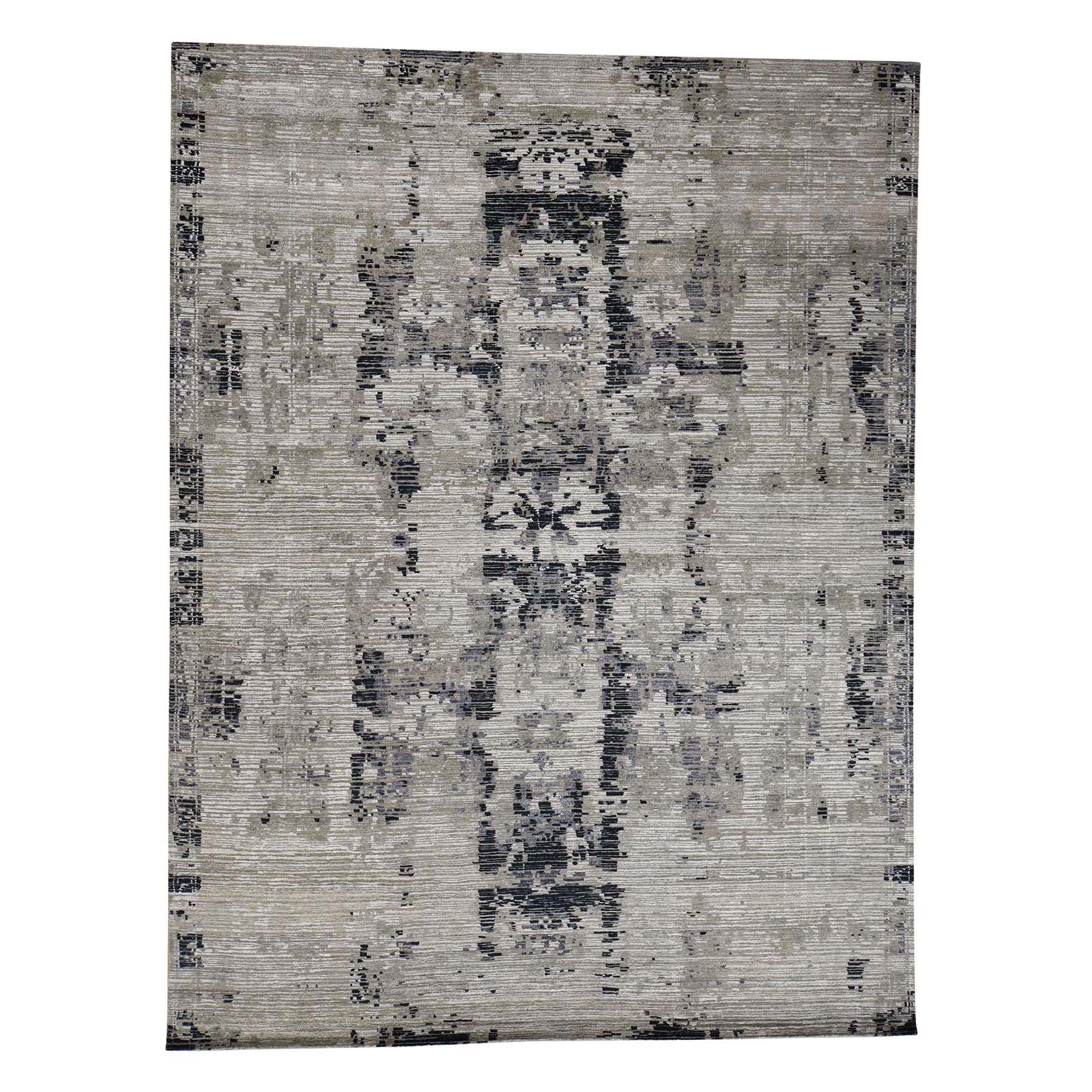 "8'10""X11'8"" Hand-Knotted Cut And Loop Abstract Design Wool And Silk Oriental Rug moac99d8"