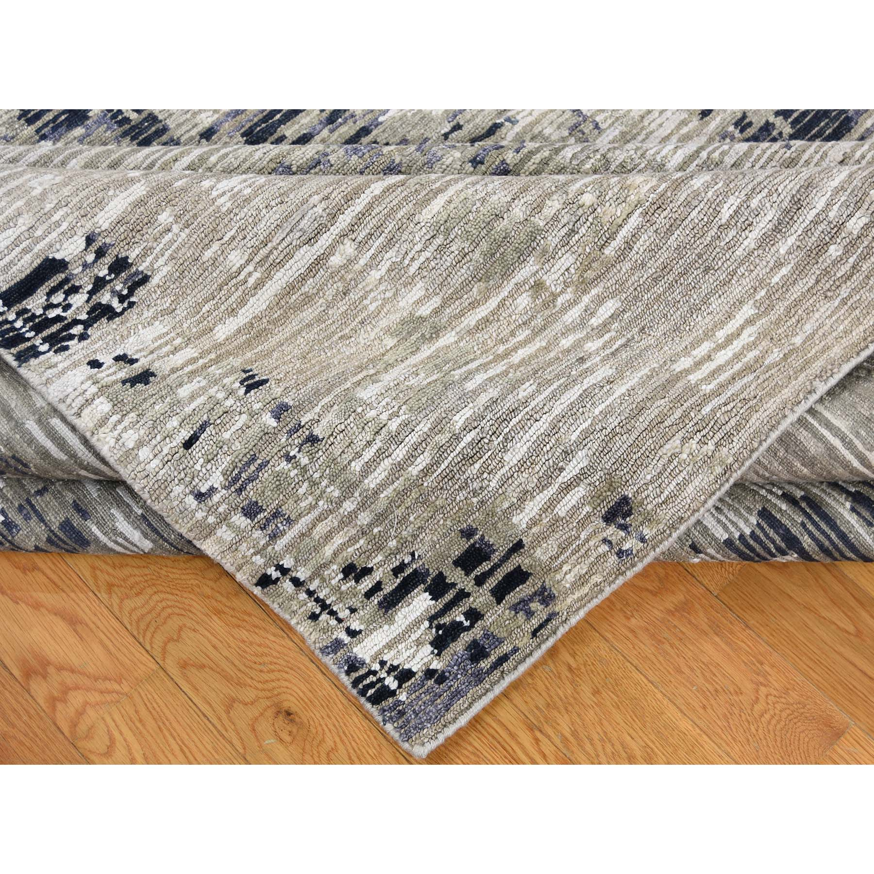 8-10 x11-8  Hand-Knotted Cut and Loop Abstract Design Wool and Silk Oriental Rug