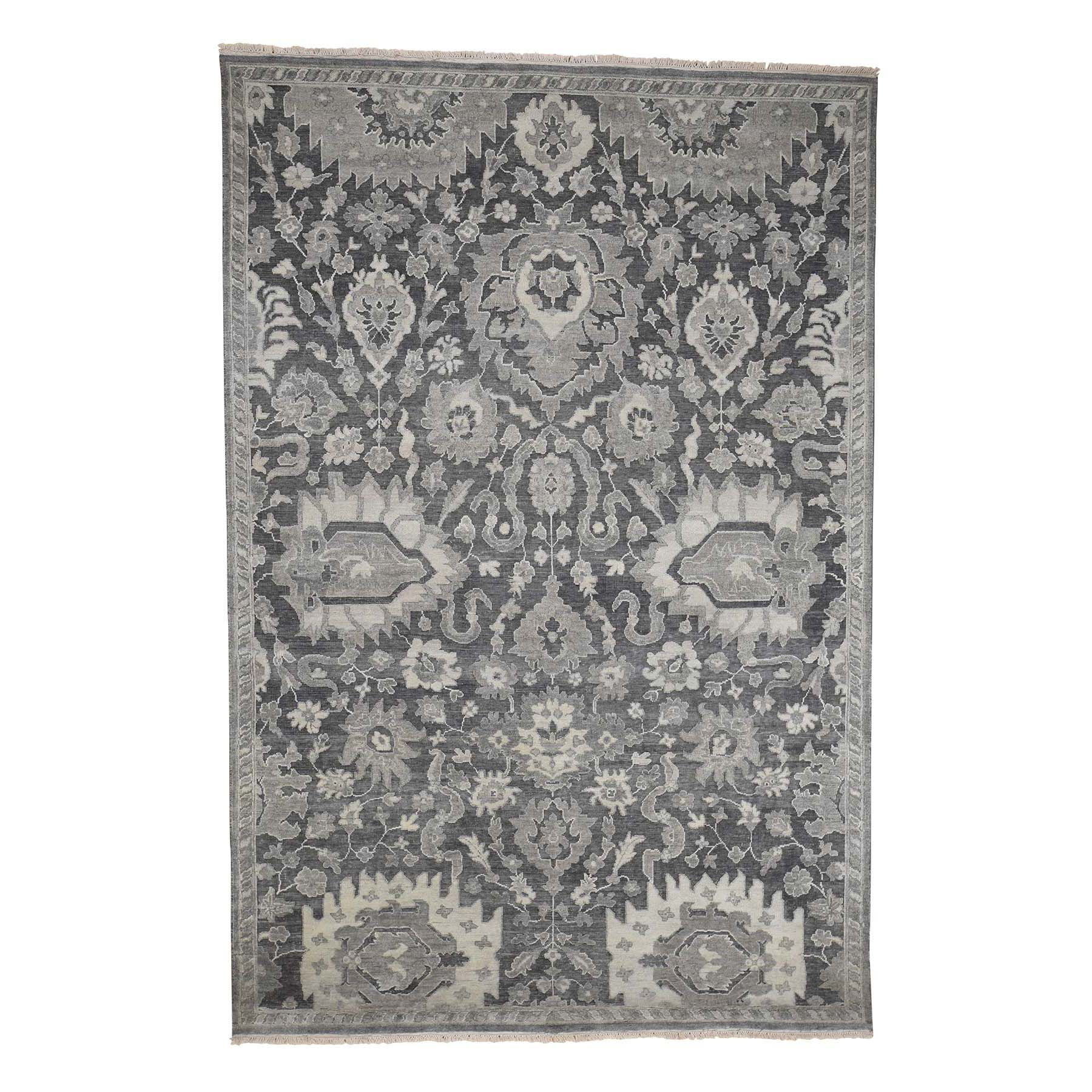 "6'3""X9'4"" Silk With Oxidized Wool Oushak Influence Hand-Knotted Oriental Rug moac99ea"