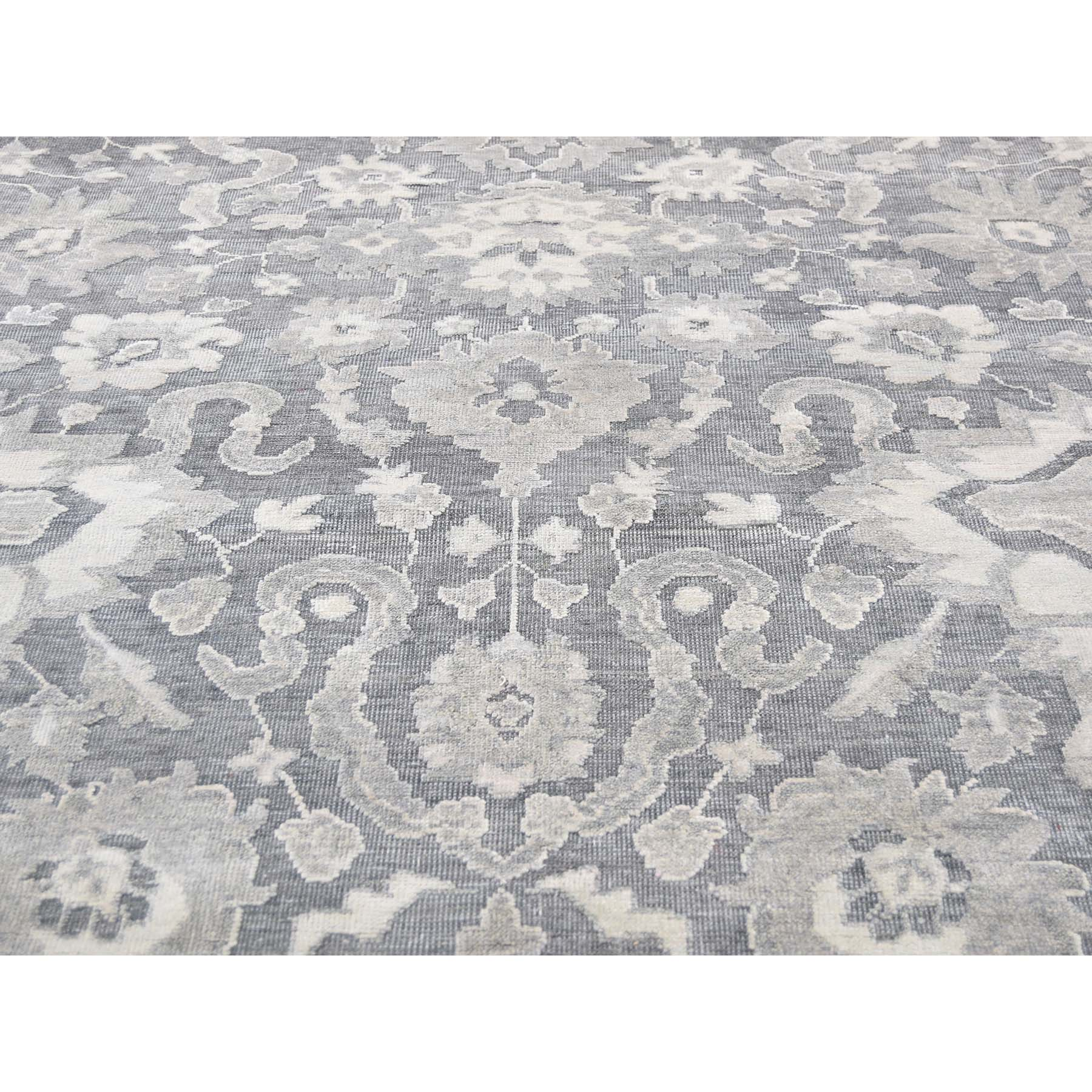 6-3 x9-4  Silk With Oxidized Wool Oushak Influence Hand-Knotted Oriental Rug