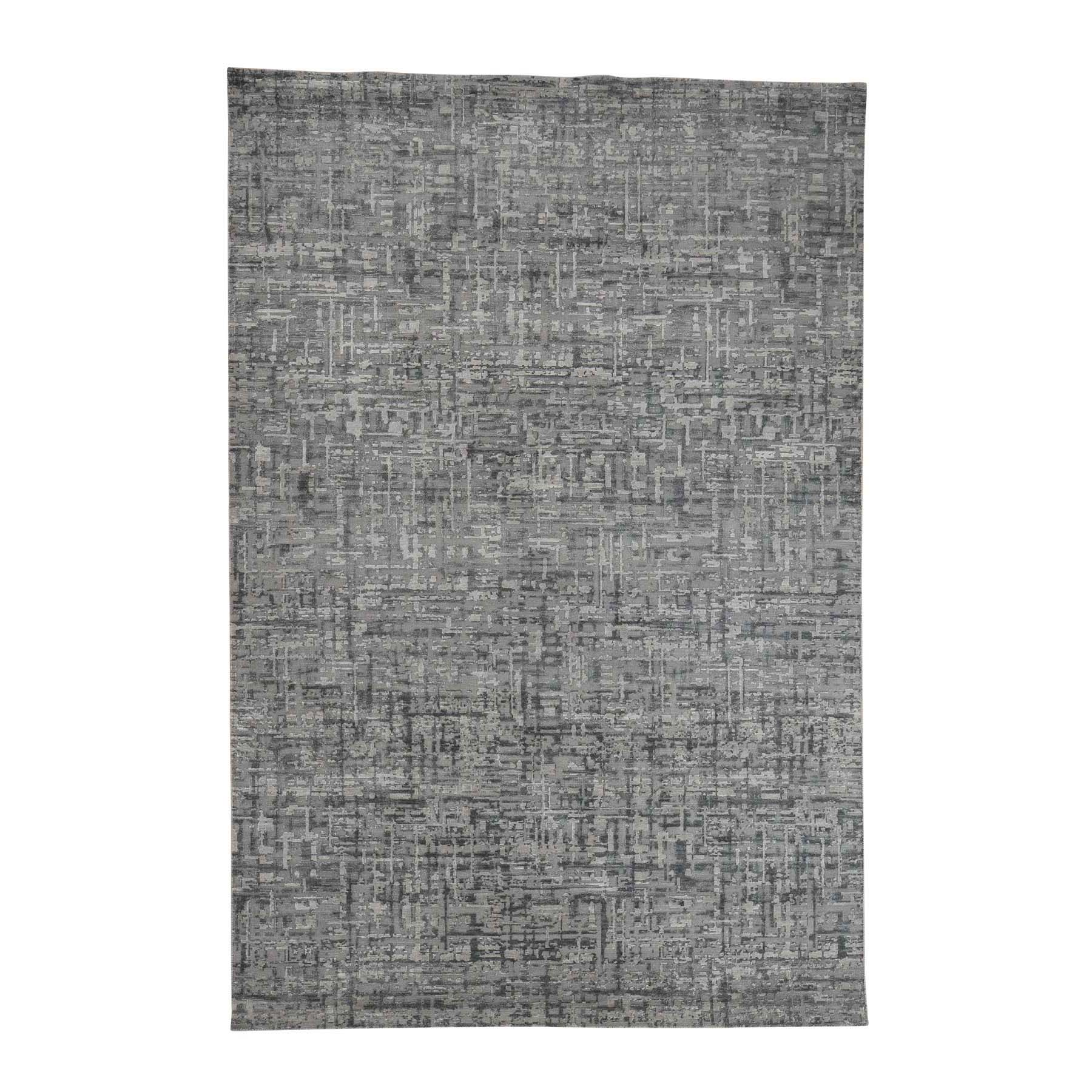 "6'2""X9'3"" The Matrix Pure Silk With Oxidized Wool Tone On Tone Hand-Knotted Rug moac99ee"