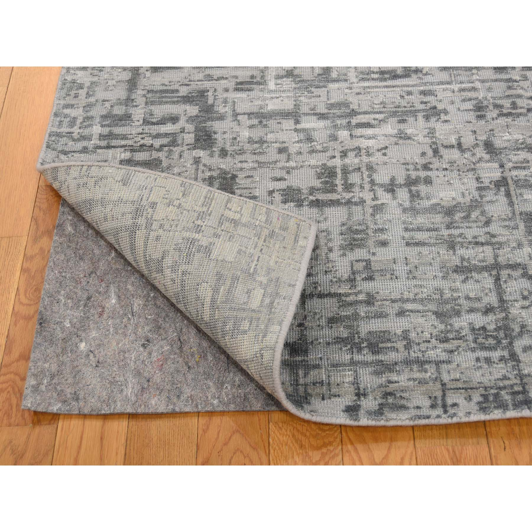 "6'2""x9'3"" THE MATRIX Pure Silk with Textured Wool Tone on Tone Hand-Knotted Rug"
