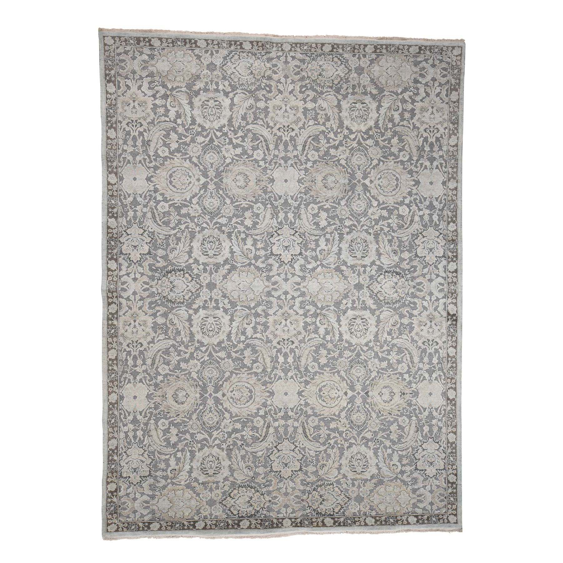 "9'1""x12'5"" Hand-Knotted Flat Weave with Raised Silk Oriental Rug"