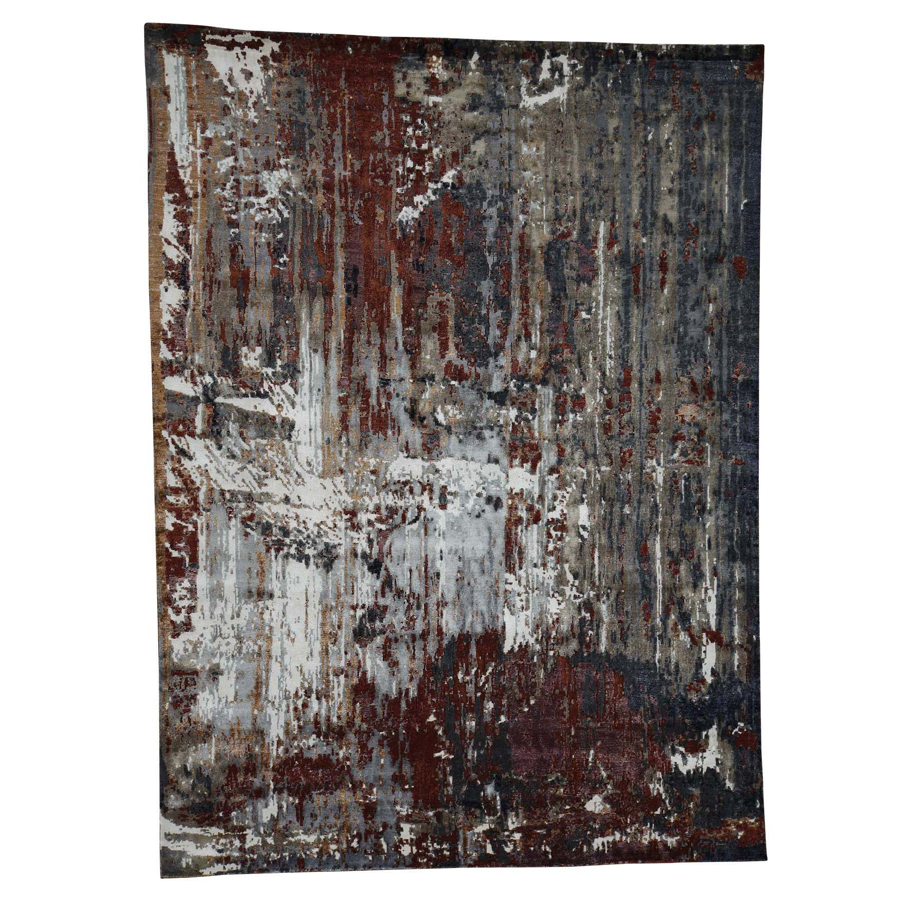 "9'x12'2"" Hi-Lo Pile Wool and Silk Abstract Design Hand-Knotted oriental Rug"