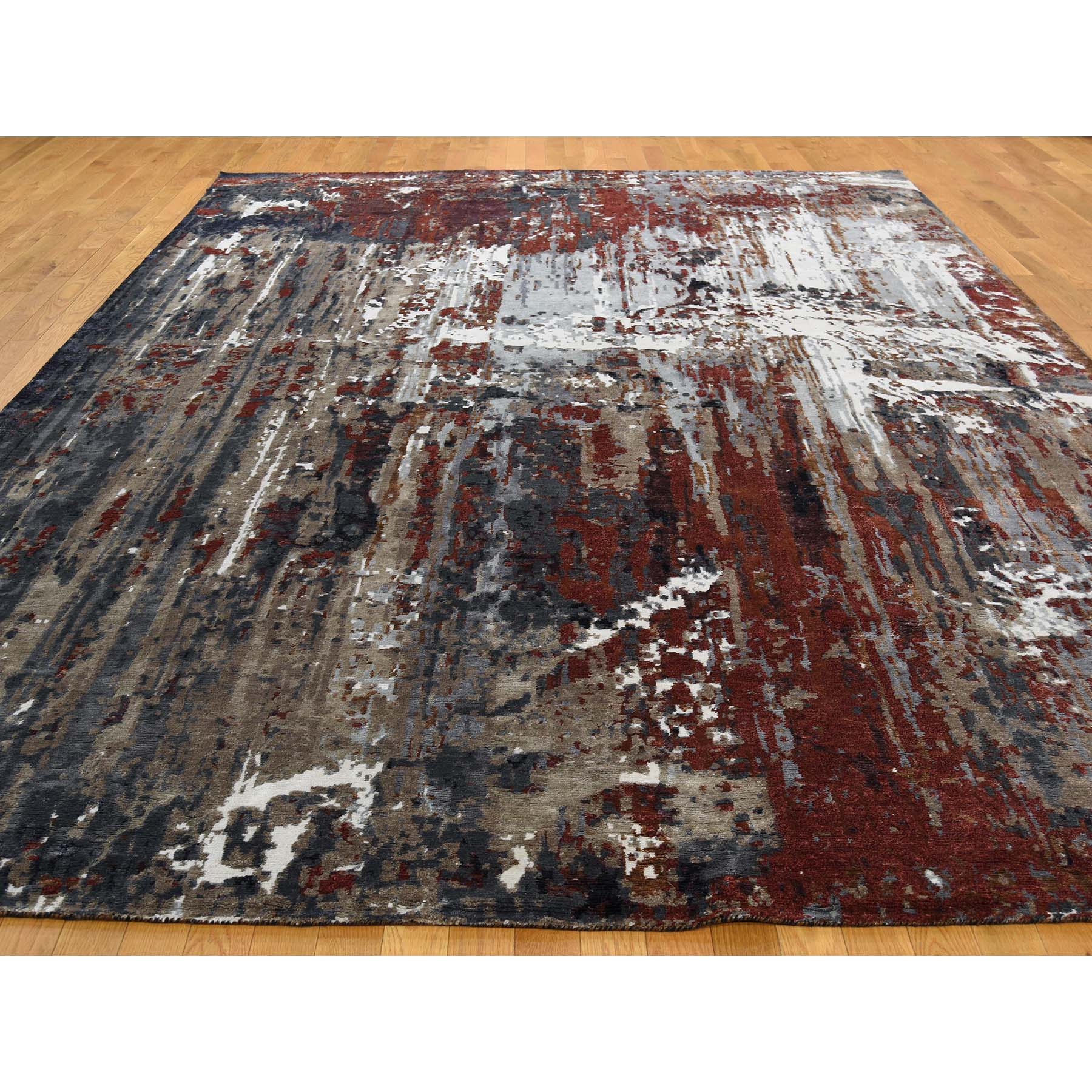 9-x12-2  Hi-Lo Pile Wool and Silk Abstract Design Hand-Knotted oriental Rug