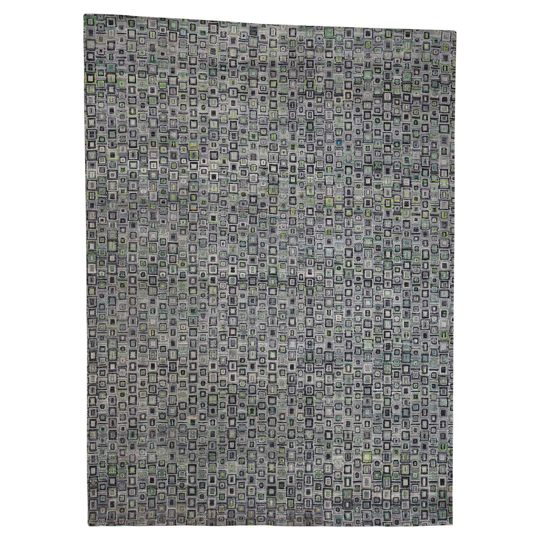 "9'X12'3"" Sari Silk With Square Design Hand-Knotted Oriental Rug moac997b"