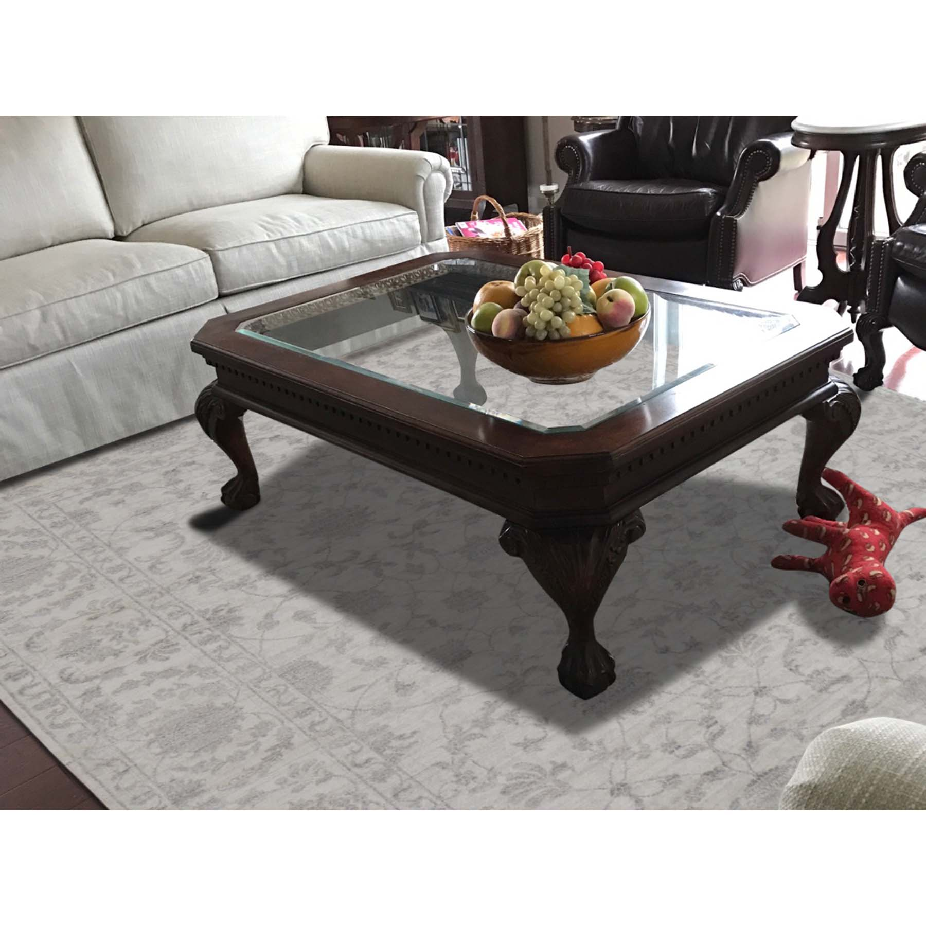 """8'1""""x10'3"""" Wool and Silk Tone on Tone Agra Hand-Knotted Oriental Rug"""