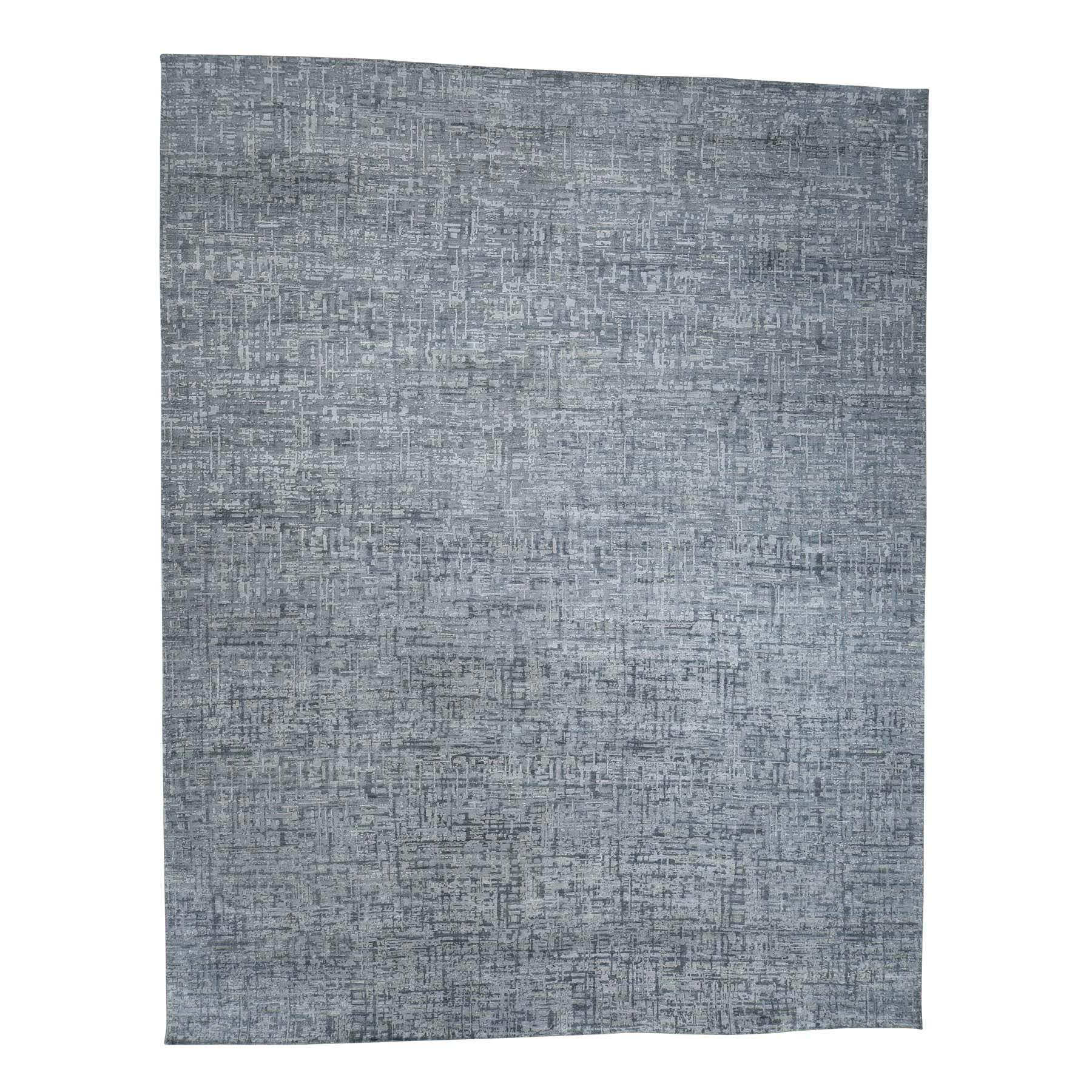 "12'1""X15'3"" The Matrix Pure Silk With Textured Wool Tone On Tone Hand-Knotted Rug moac997e"