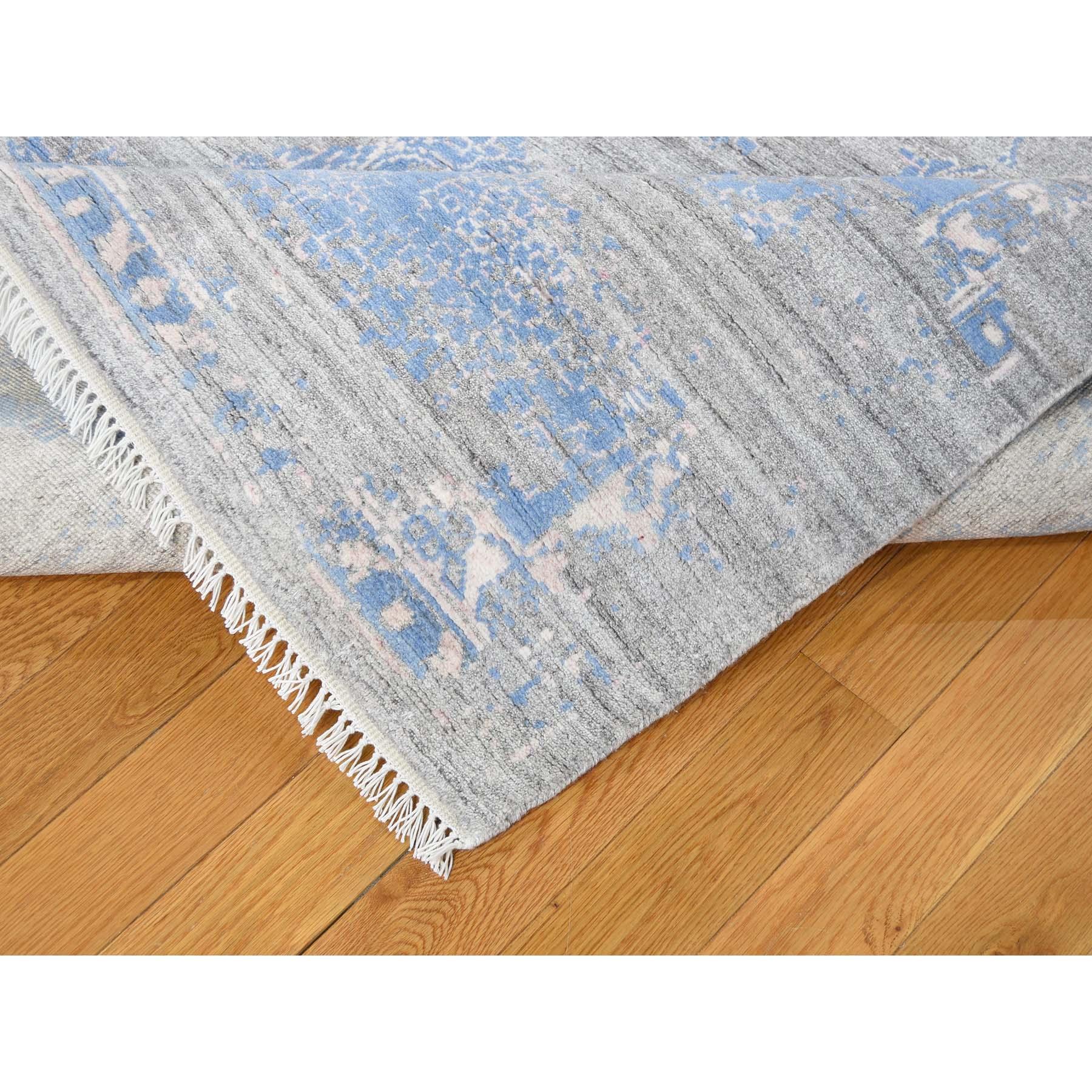 9-1 x12-2  Wool and Silk Broken Agra Design Hand-Knotted Oriental Rug