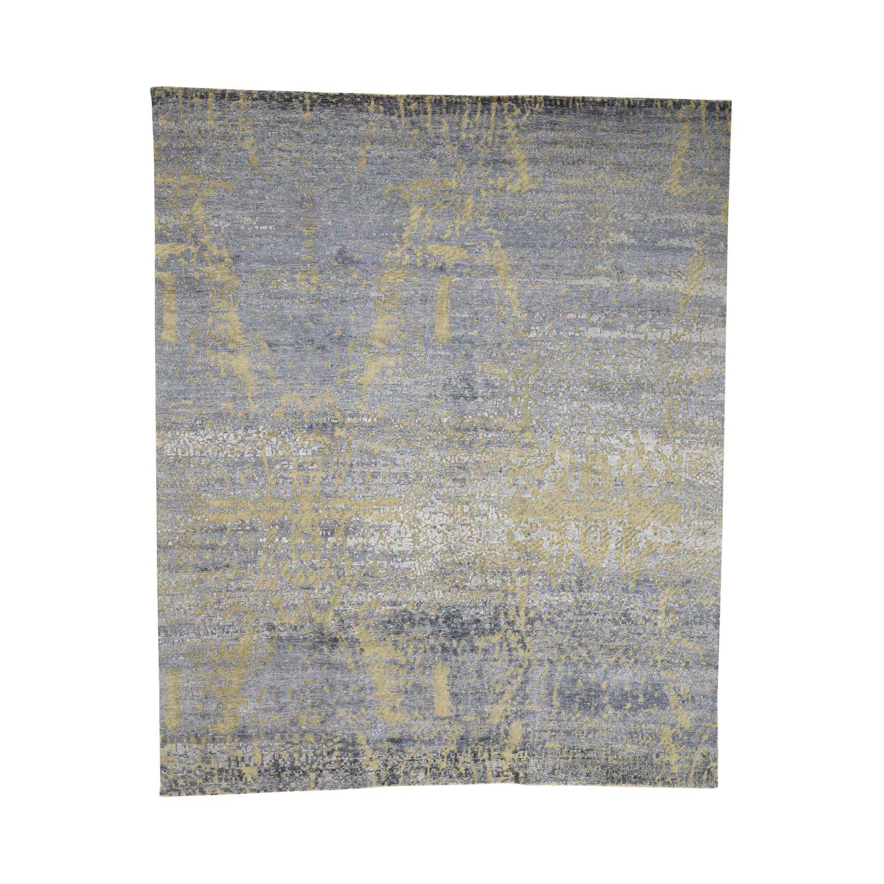 "8'X9'7"" Hand-Knotted Hi-Lo Pile Wool And Silk Abstract Design Oriental Rug moac999c"