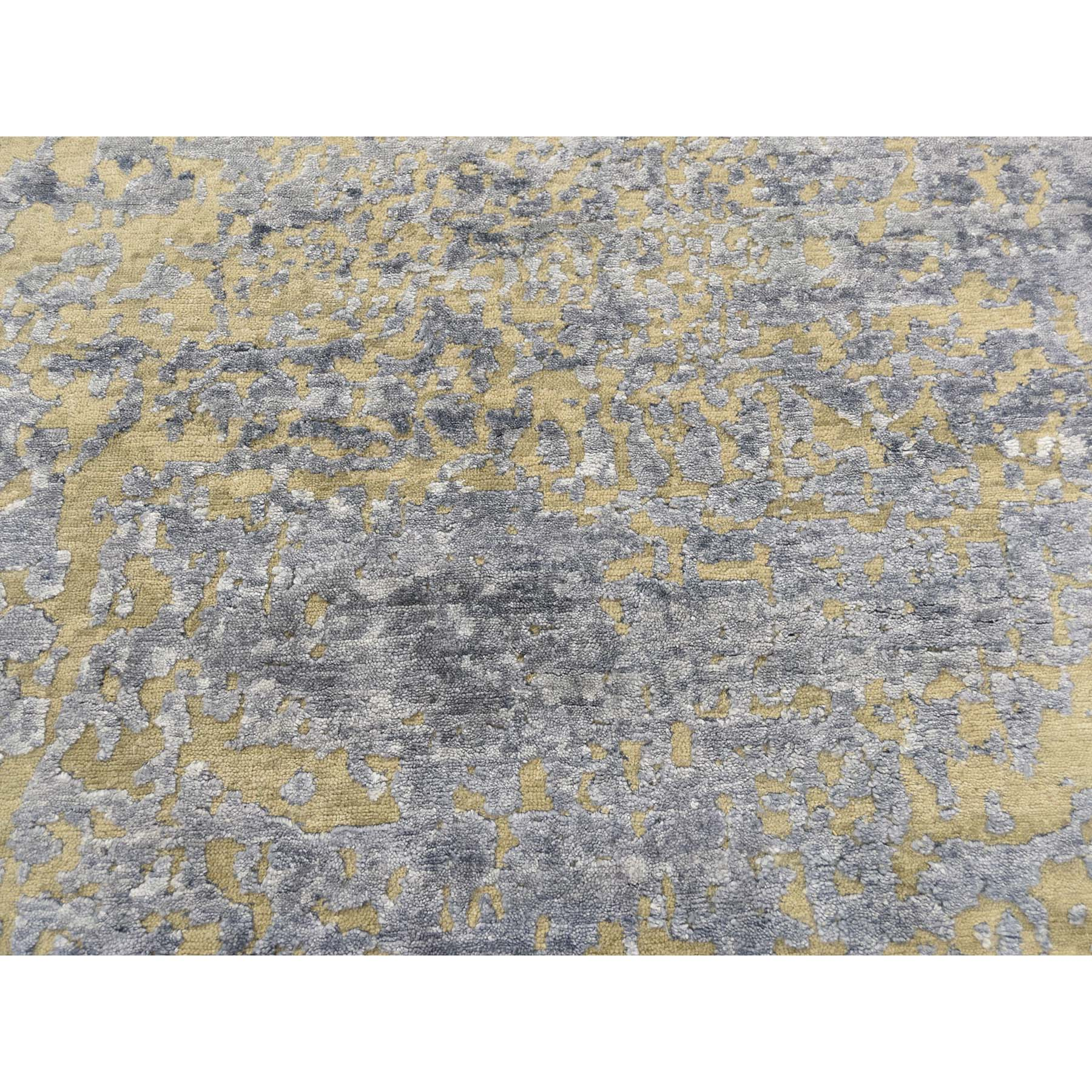 8-x9-7  Hand-Knotted Hi-Lo Pile Wool and Silk Abstract Design Oriental Rug