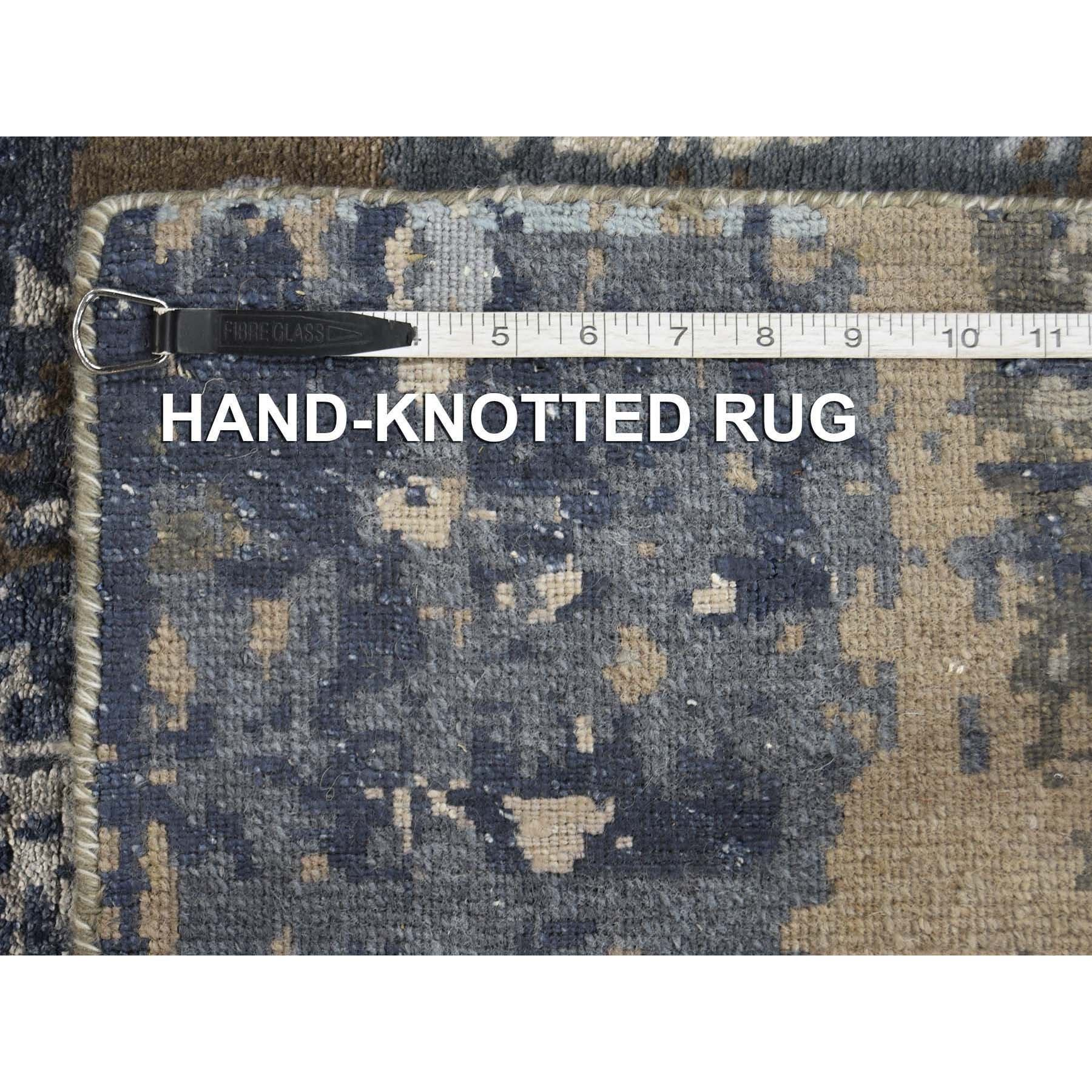 2-8 x8-1  Hand-Knotted Abstract Design Wool and Silk Hi-Lo Pile Runner Oriental Rug