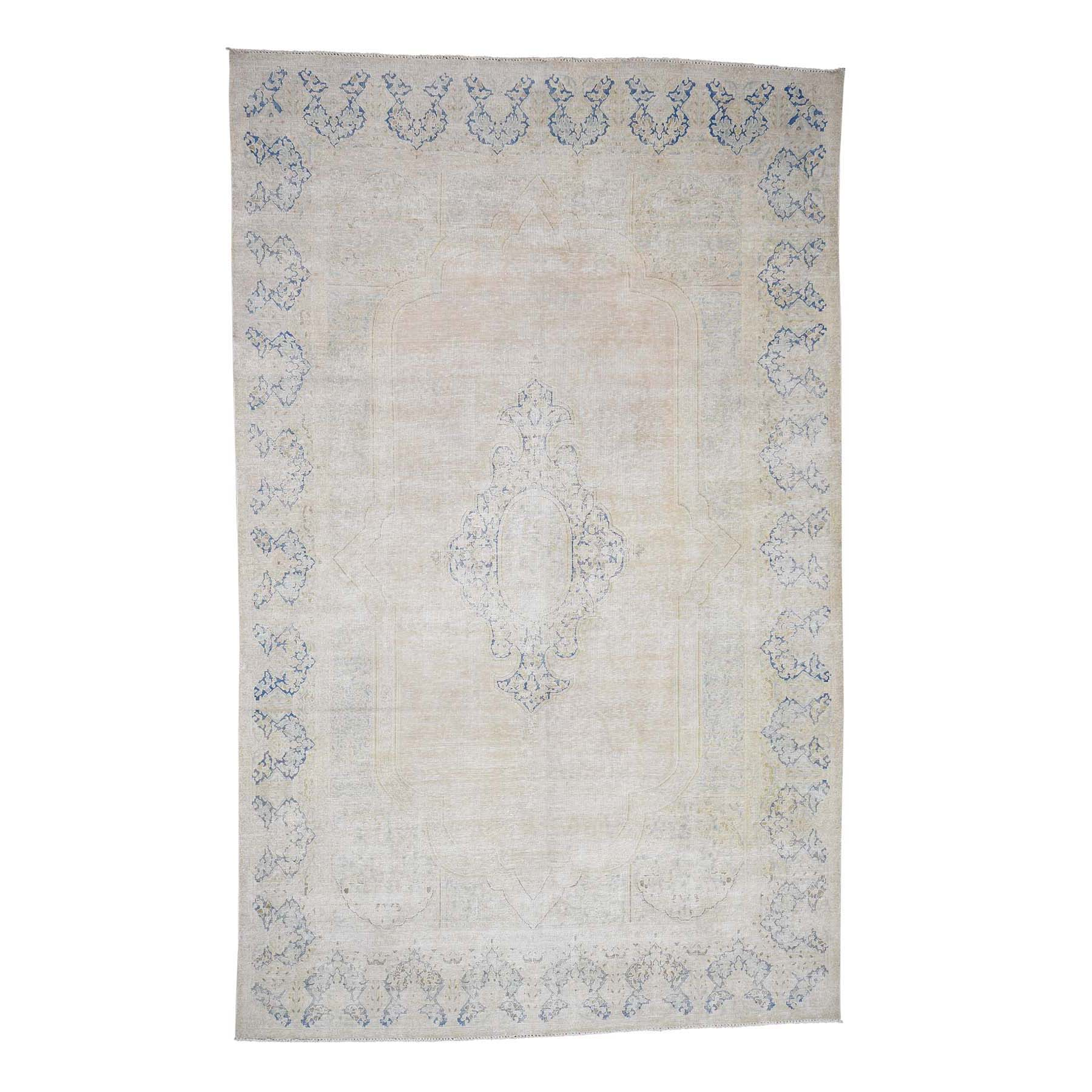"7'X11'4"" Hand-Knotted Pure Wool Vintage Kerman White Wash Oriental Rug moad00d7"
