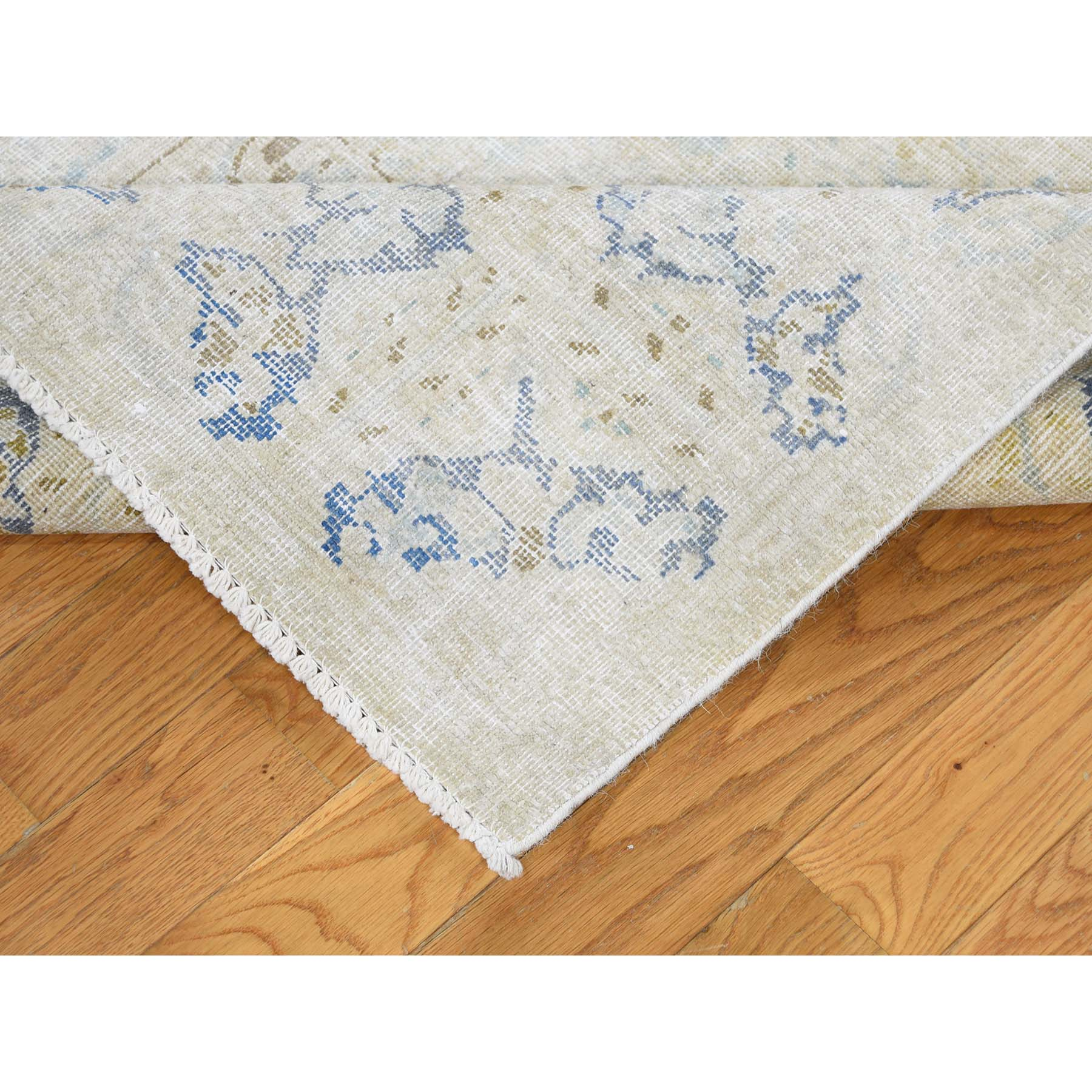 7-x11-4  Hand-Knotted Pure Wool Vintage Kerman White Wash Oriental Rug