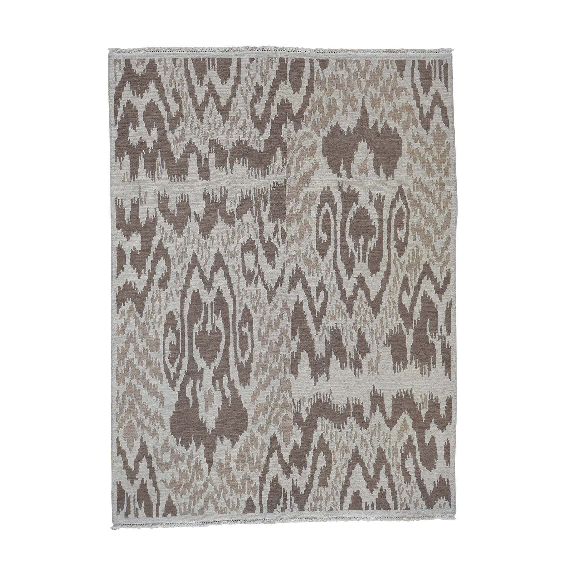 "5'X6'9"" Soumak With Ikat Design Flat Weave Hand Woven Pure Wool Oriental Rug moad007b"