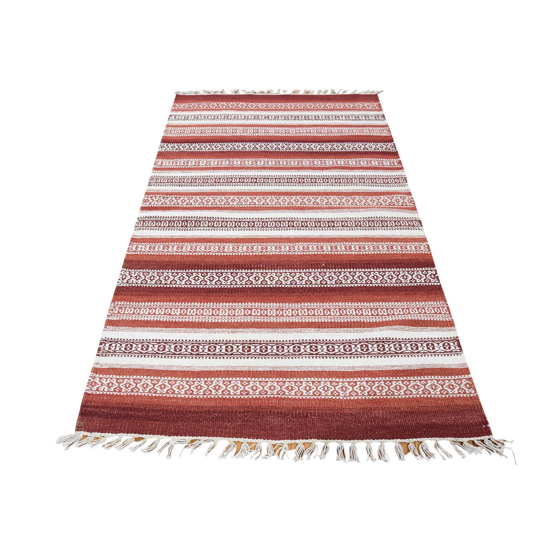 "2'10""X5' Hand Woven Flat Weave Striped Design Durie Kilim Oriental Rug moad0a06"