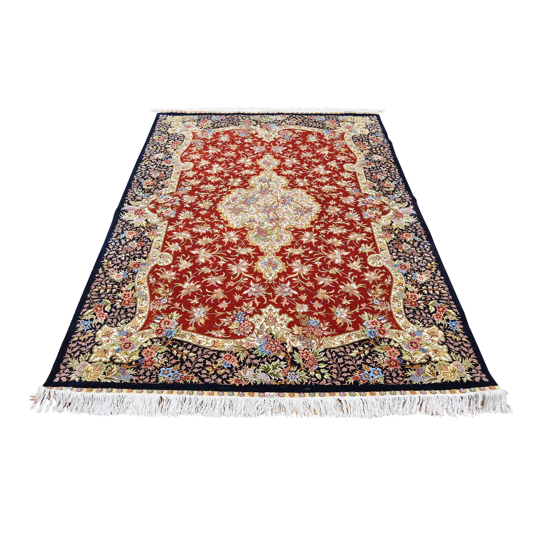 "4'1""X6'4"" Red Kashan 400 Kpsi Pure Silk Hand-Knotted Oriental Rug moad0a8d"