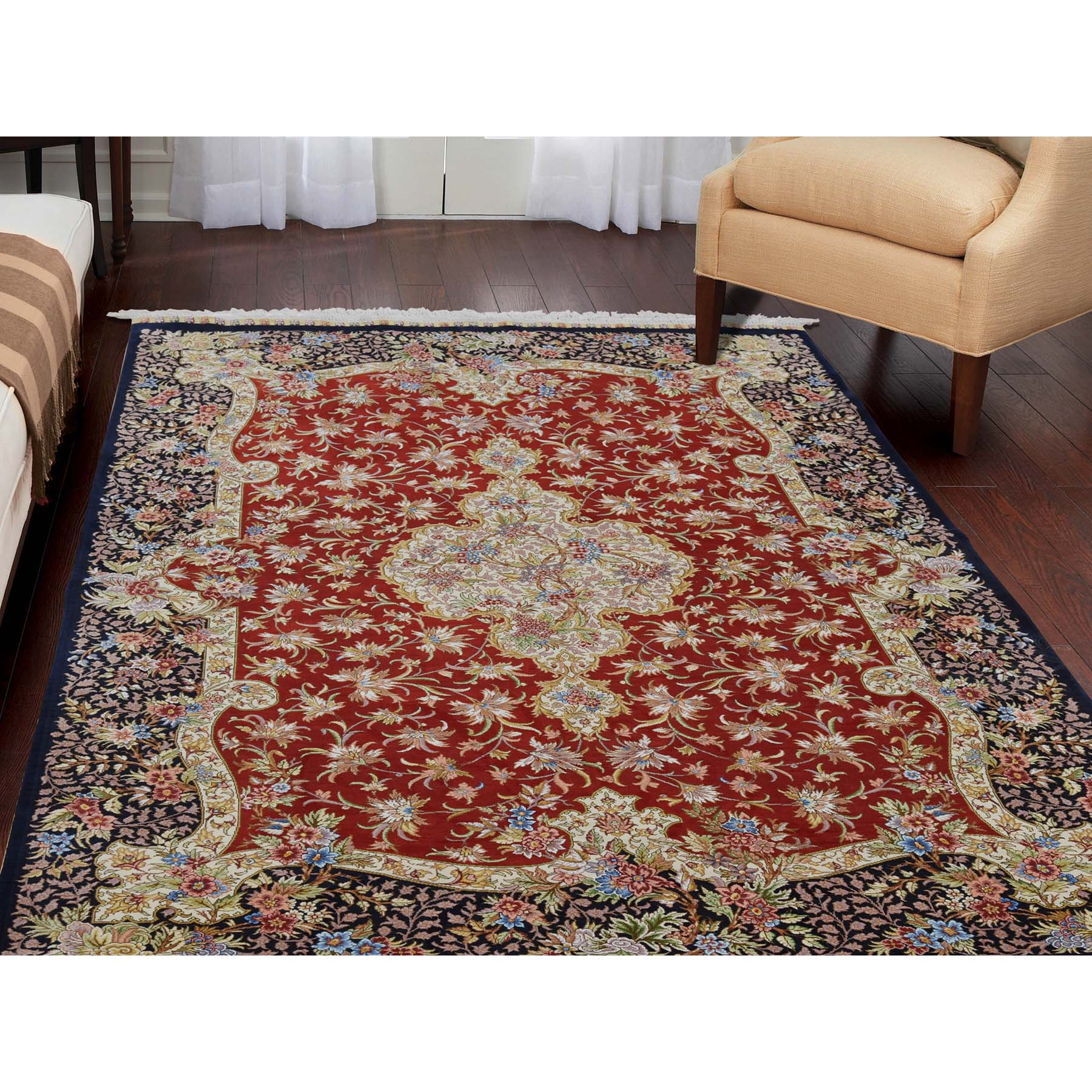 """4'1""""x6'4"""" Red Kashan 400 kpsi Pure Silk Hand-Knotted Oriental Rug"""