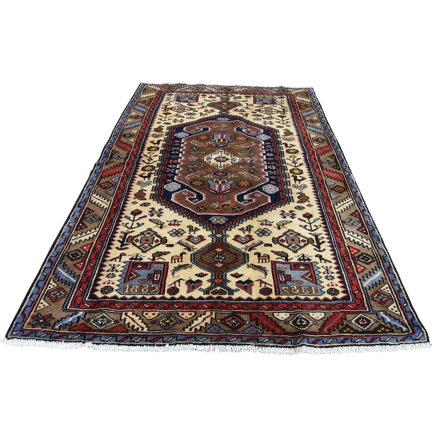 "4'3""X6'8"" New Persian Mosel Pure Wool Hand-Knotted Oriental Rug moad0baa"