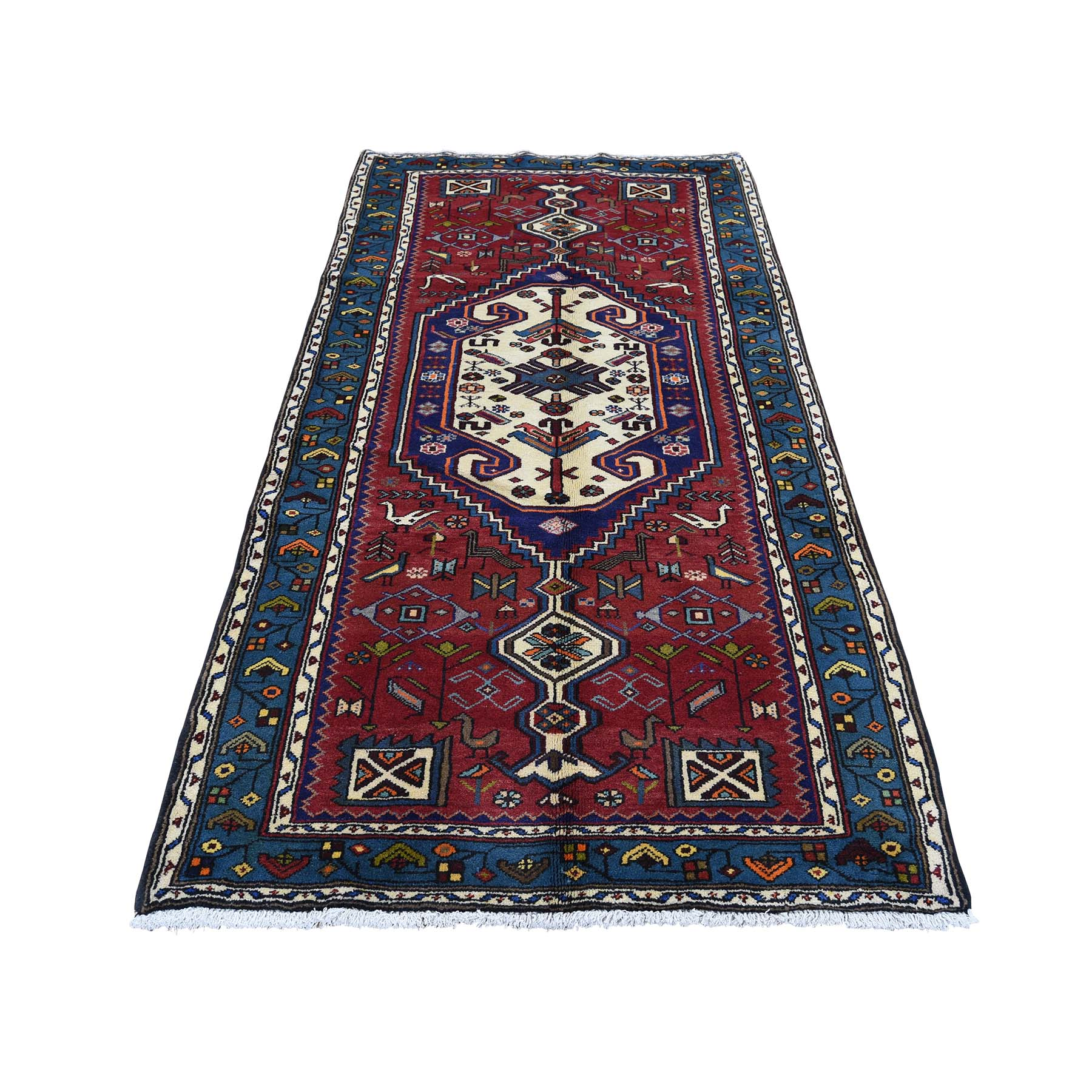 "3'4""X6'8"" Pure Wool Hand-Knotted New Persian Mosel Runner Oriental Rug moad0bbd"