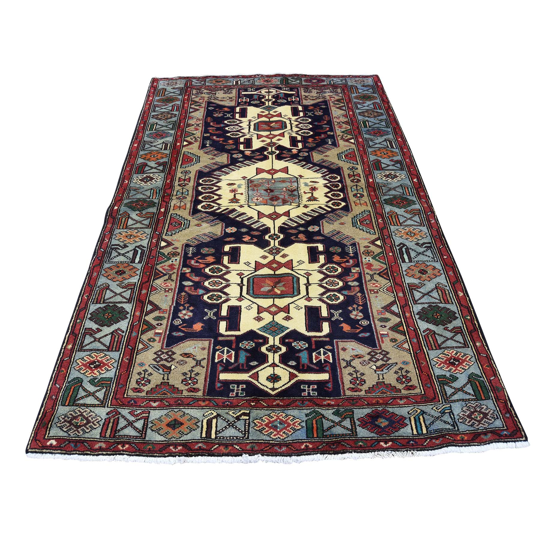 "4'1""X6'8"" Pure Wool Hand-Knotted New Persian Mosel Oriental Rug moad0c0a"