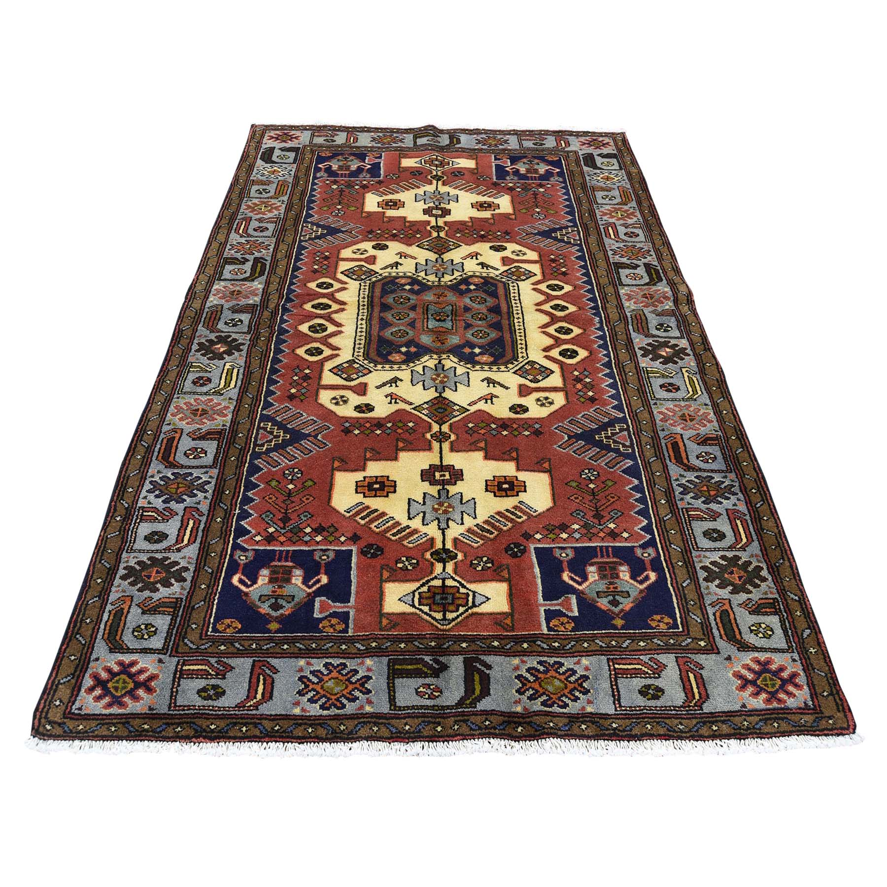 """4'4""""X6'4"""" Pure Wool New Persian Mosel Hand-Knotted Oriental Rug moad0cbd"""