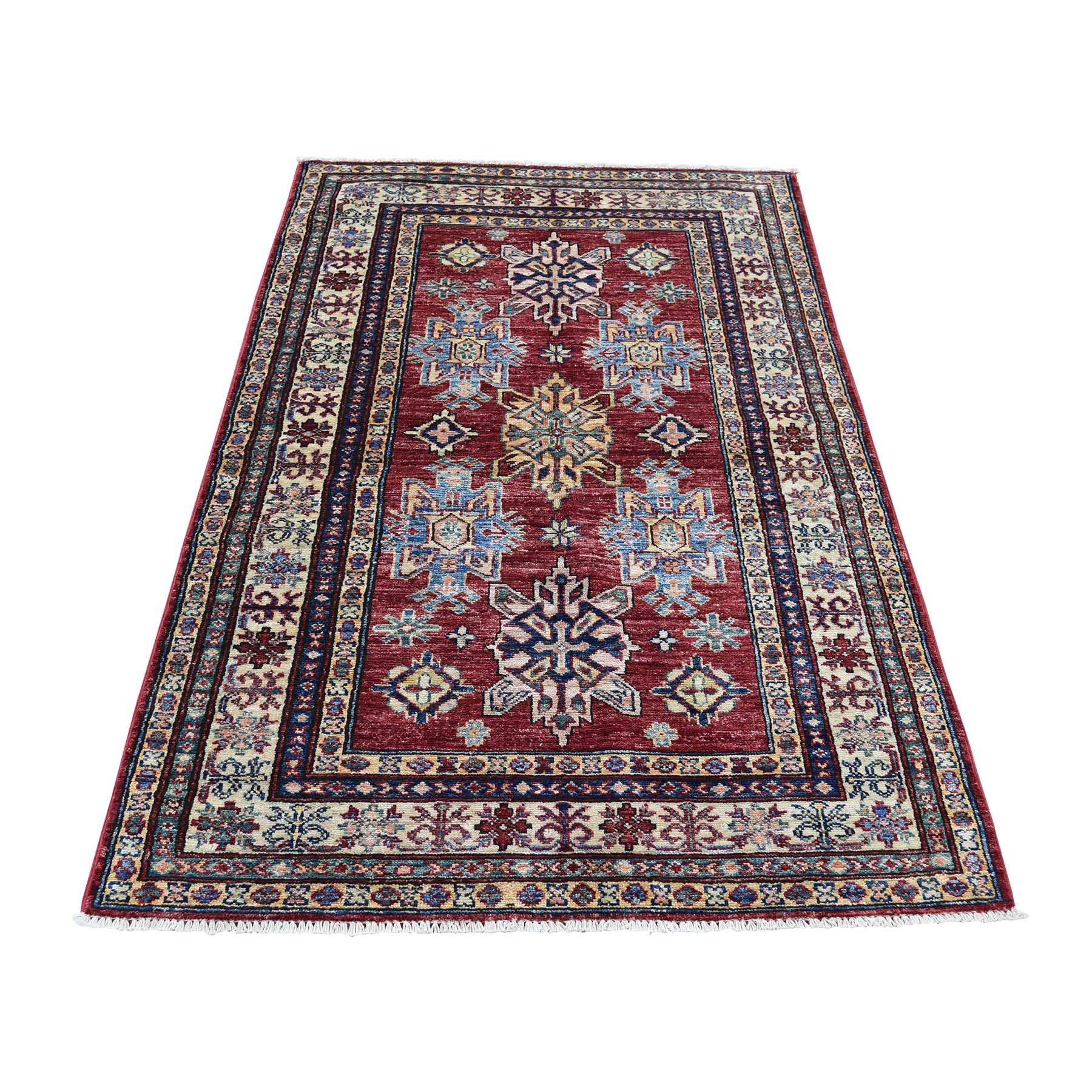 "3'3""X4'10"" Super Kazak Pure Wool Geometric Design Hand-Knotted Oriental Rug moad0cce"