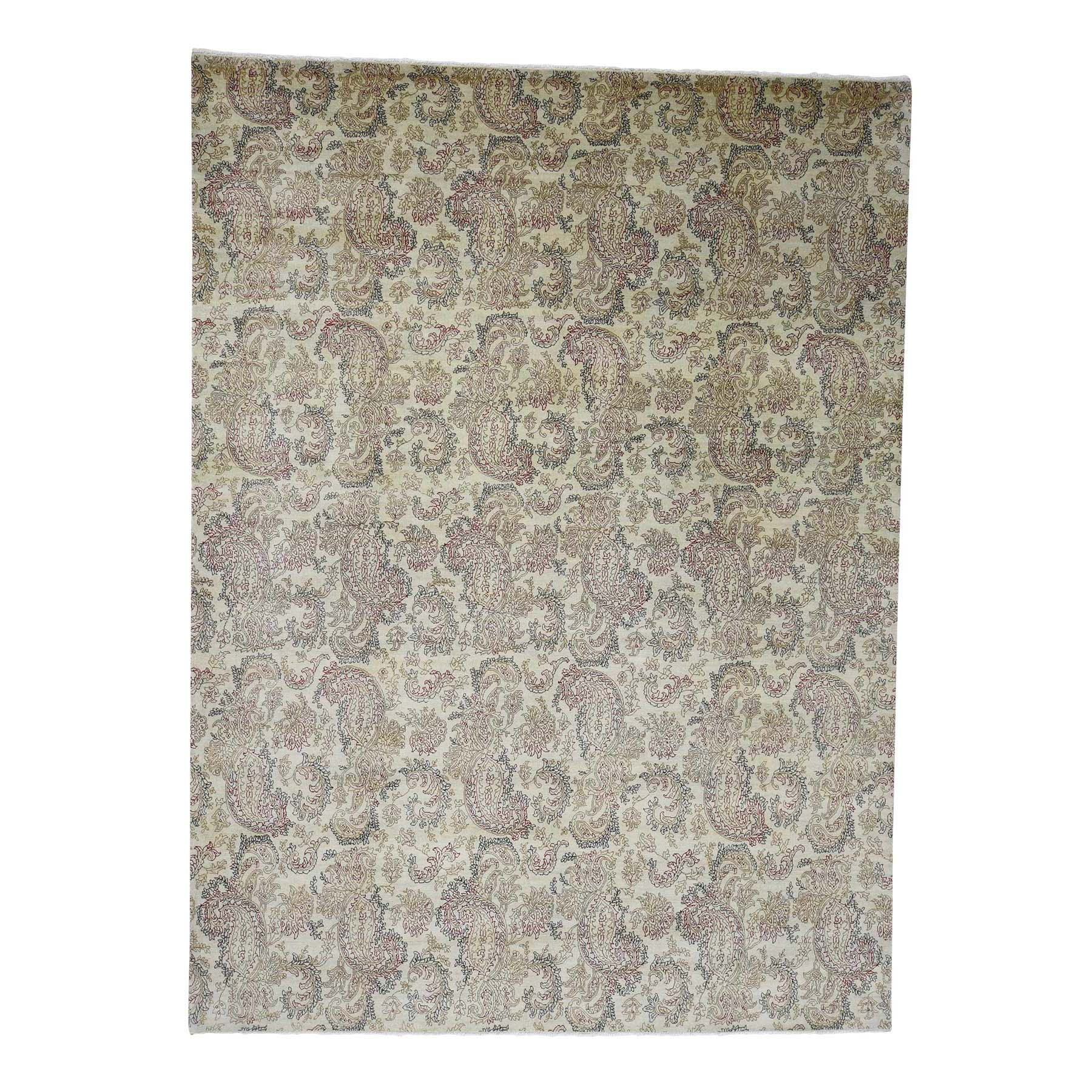 "9'1""X12'3"" Agra With Paisley Design 100 Percent Wool Hand-Knotted Oriental Rug moad0c67"