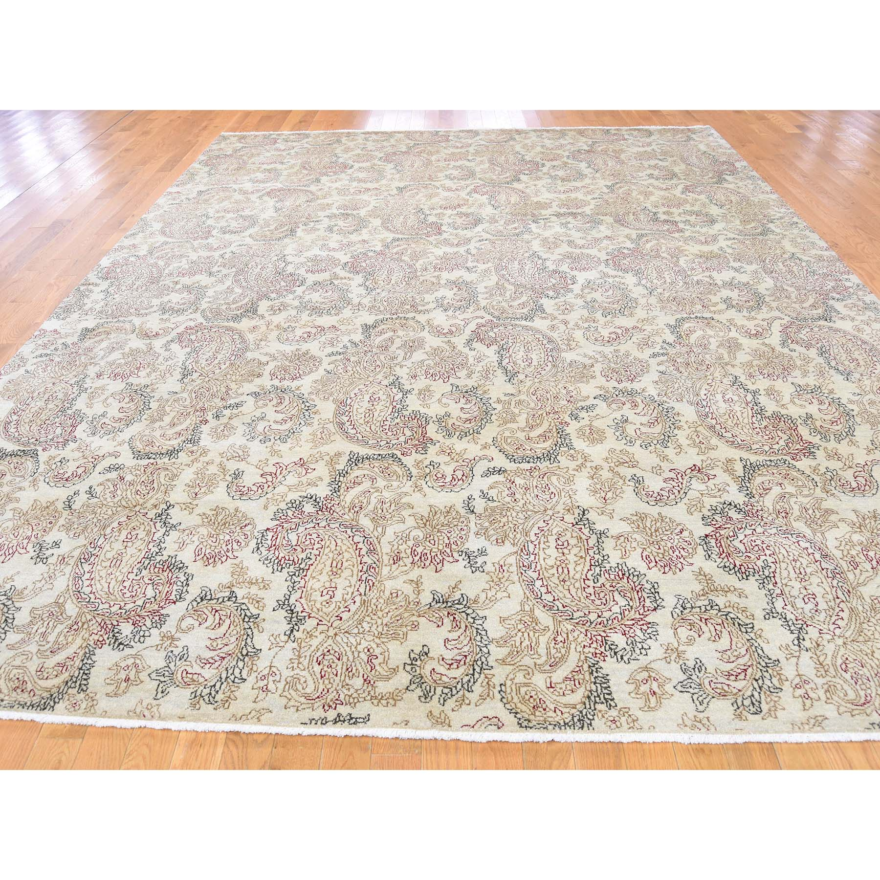 9-1 x12-3  Agra with Paisley Design 100 Percent Wool Hand-Knotted Oriental Rug