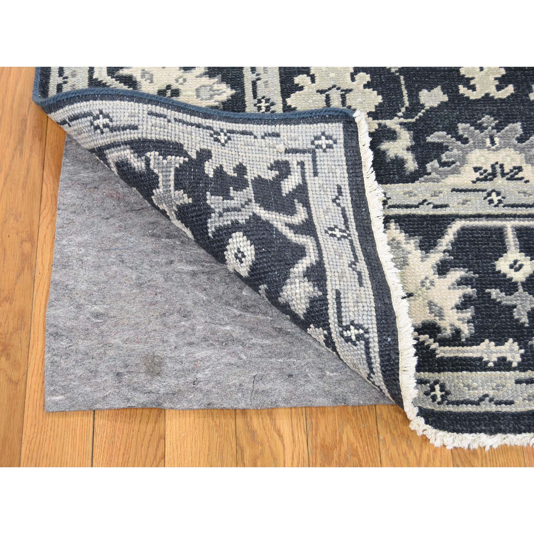 6-1 x9- Oushak Turkish Knot Cropped Thin Midnight Blue Hand Knotted Oriental Rug