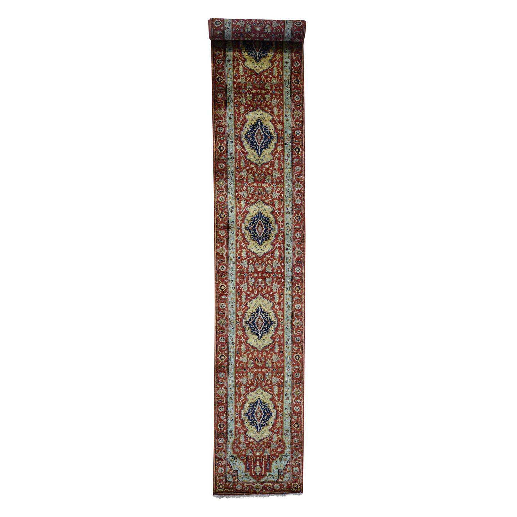 "2'7""X17'7"" Antiqued Heriz Re-Creation Pure Wool Xl Runner Hand-Knotted Oriental Rug moad0c8d"