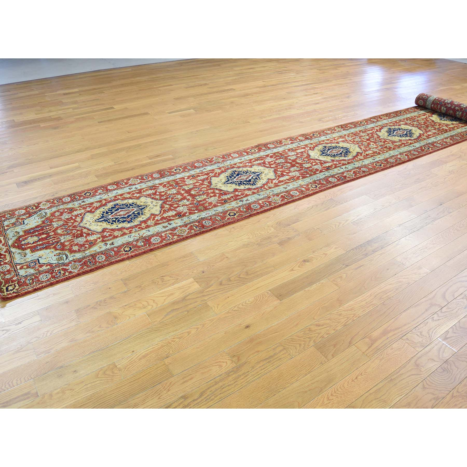 2-7 x17-7  Antiqued Heriz Re-Creation Pure Wool XL Runner Hand-Knotted Oriental Rug