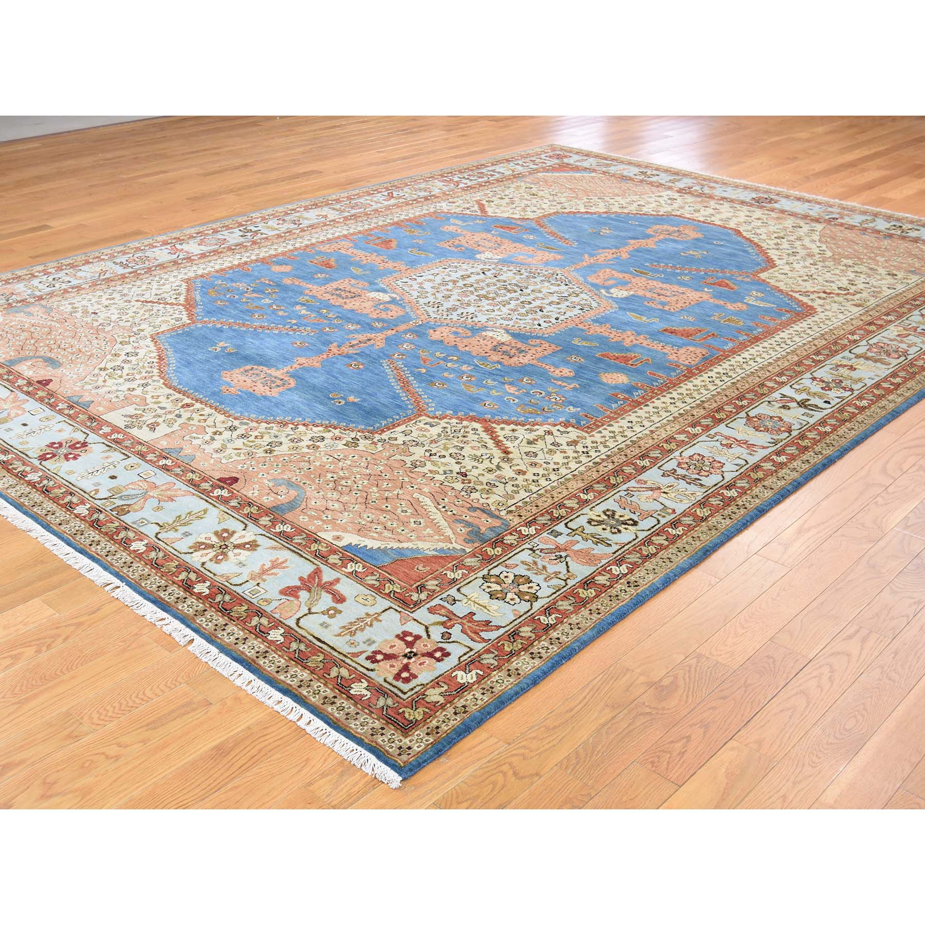 "8'10""x12'1"" Pure Wool Vegetable Dyes Bakshaish Hand-Knotted Oriental Rug"